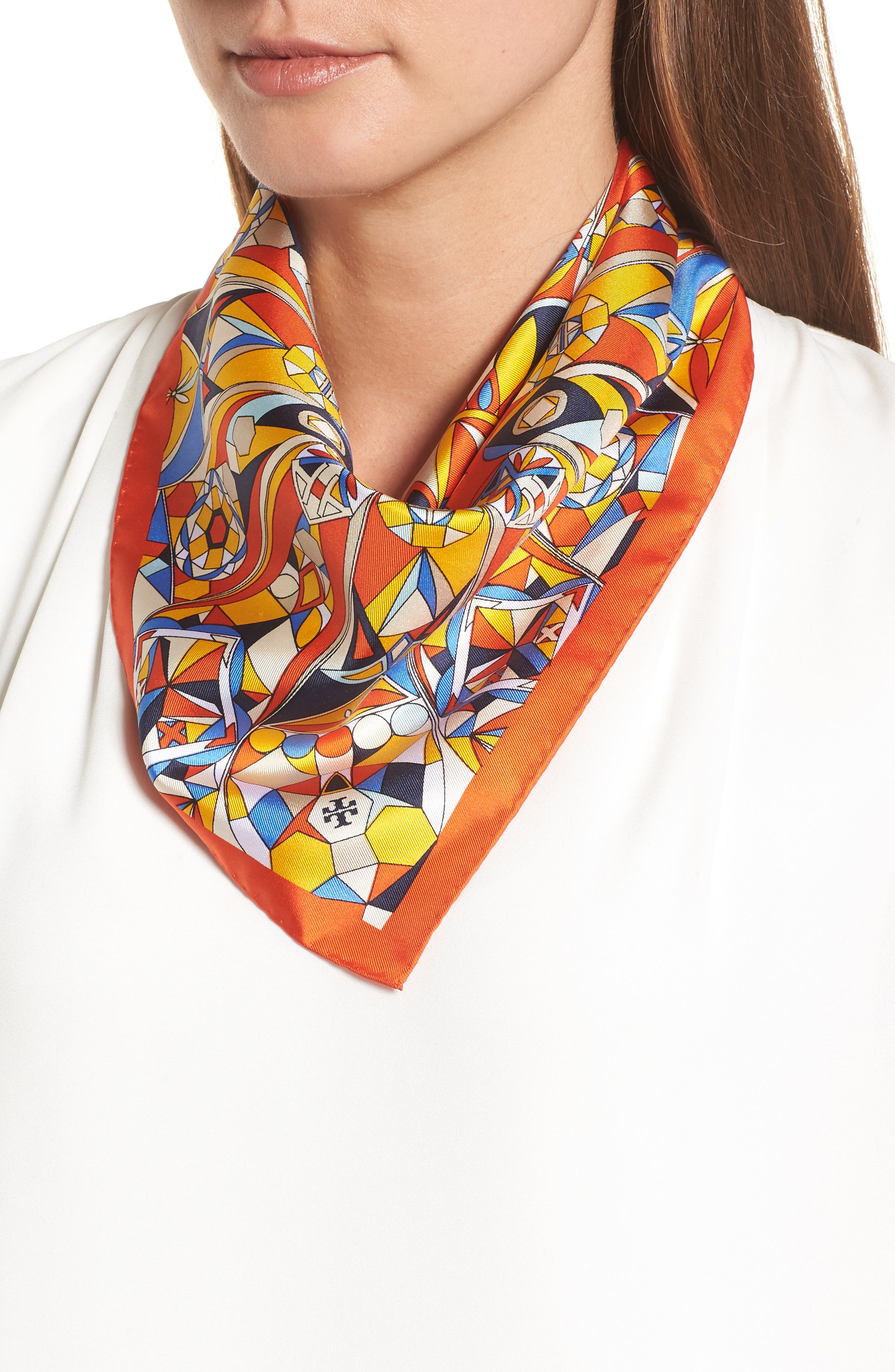 Psychedelic Geo Silk Neckerchief,                             Main thumbnail 1, color,                             Sweet Tangerine