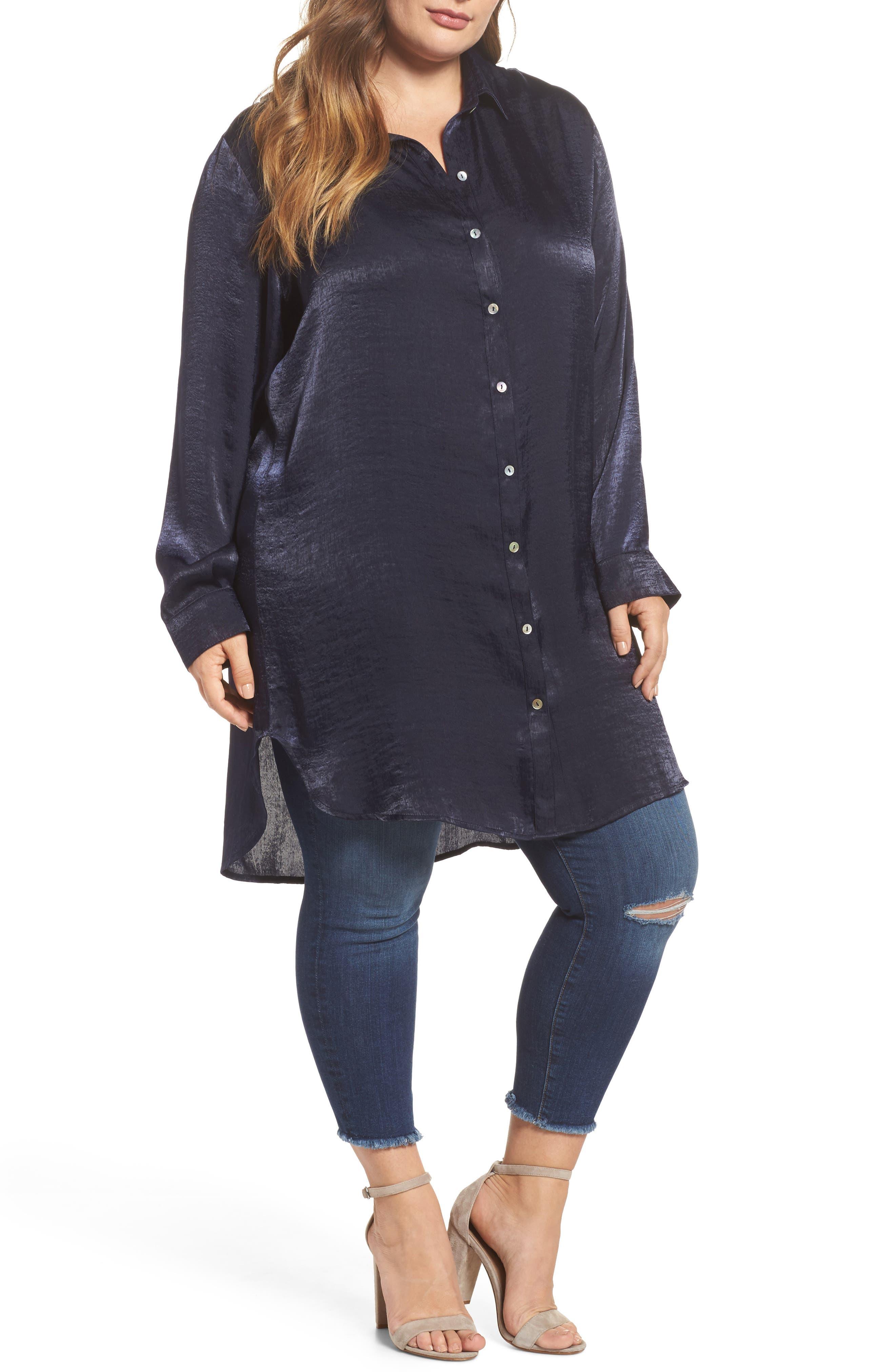 Alternate Image 1 Selected - SLINK Jeans Hammered Satin Tunic Shirt (Plus Size)