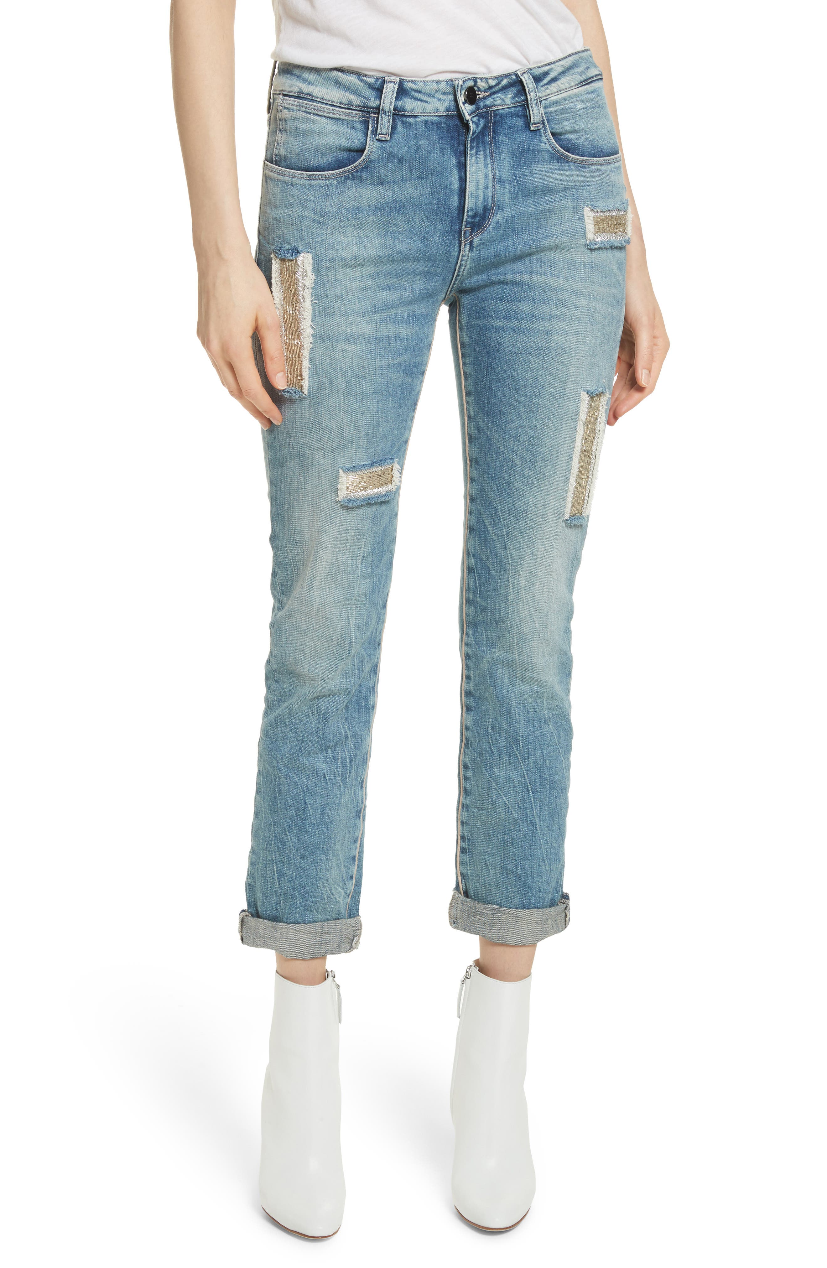 Embellished Boyfriend Jeans,                             Main thumbnail 1, color,                             Blue Berry