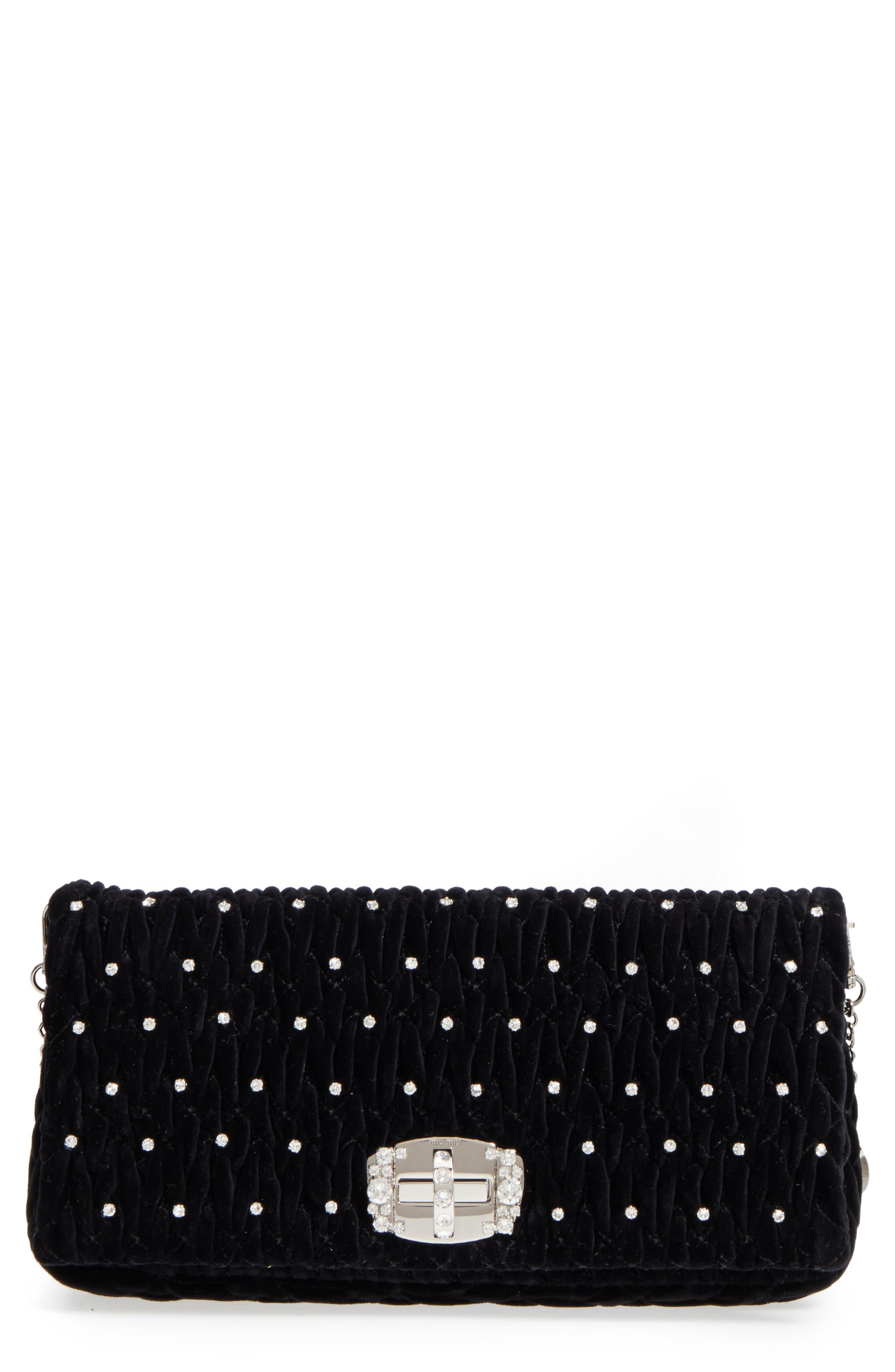 Miu Miu Crystal Embellished Matelassé Velvet Shoulder Bag