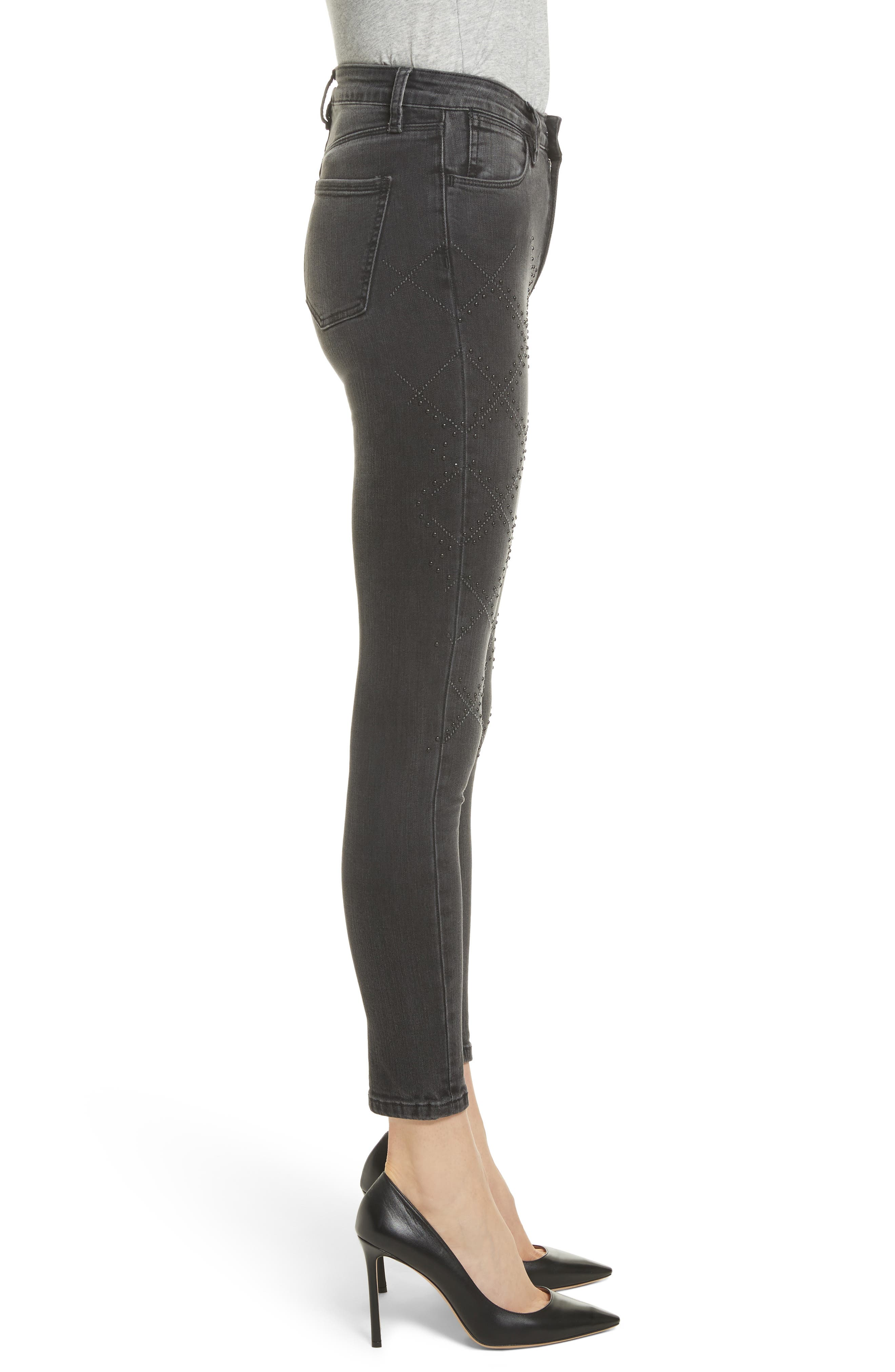 Reina Stud Skinny Jeans,                             Alternate thumbnail 3, color,                             Black Used