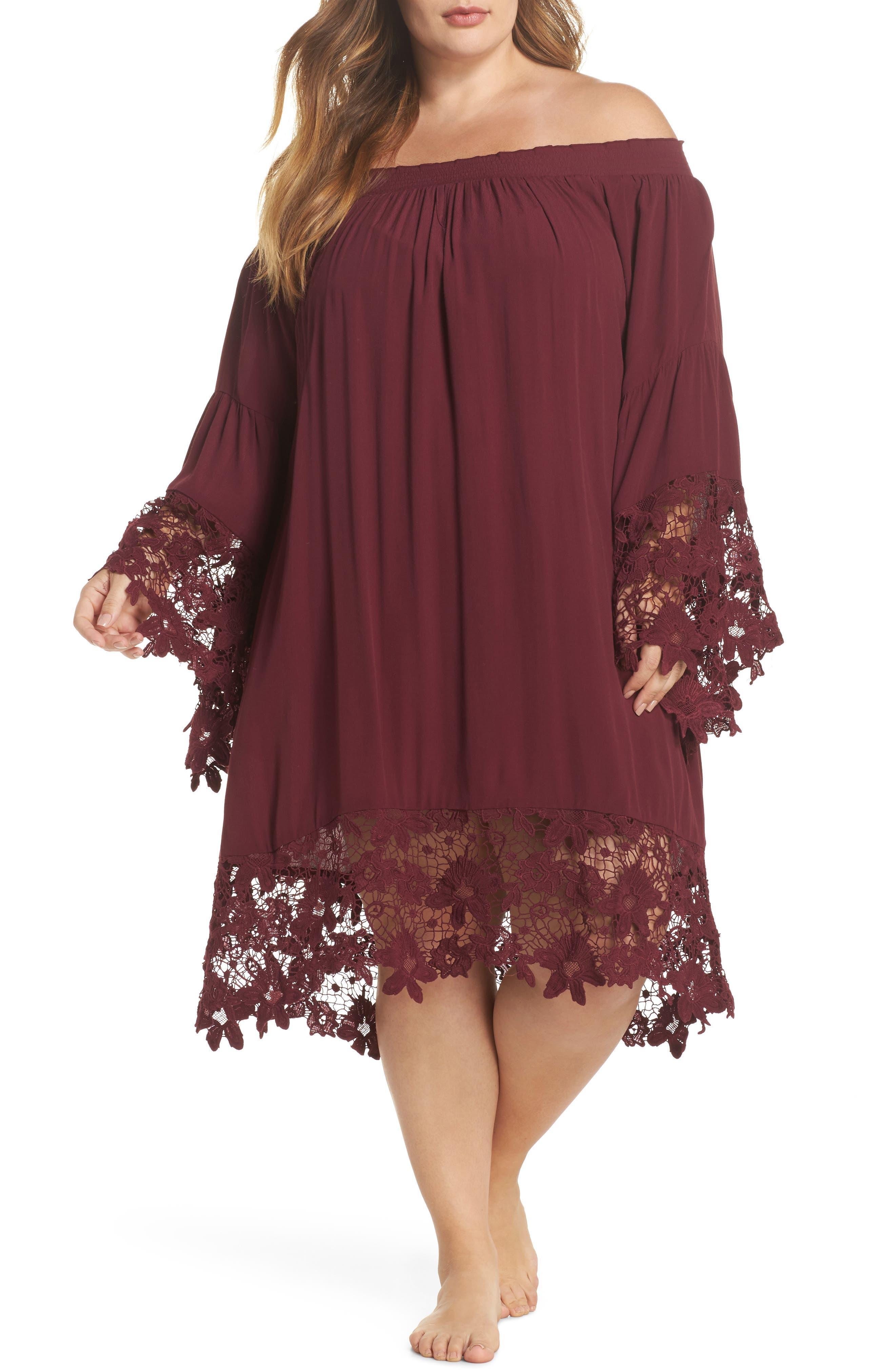 Jolie Lace Accent Cover-Up Dress,                             Main thumbnail 1, color,                             Burgundy