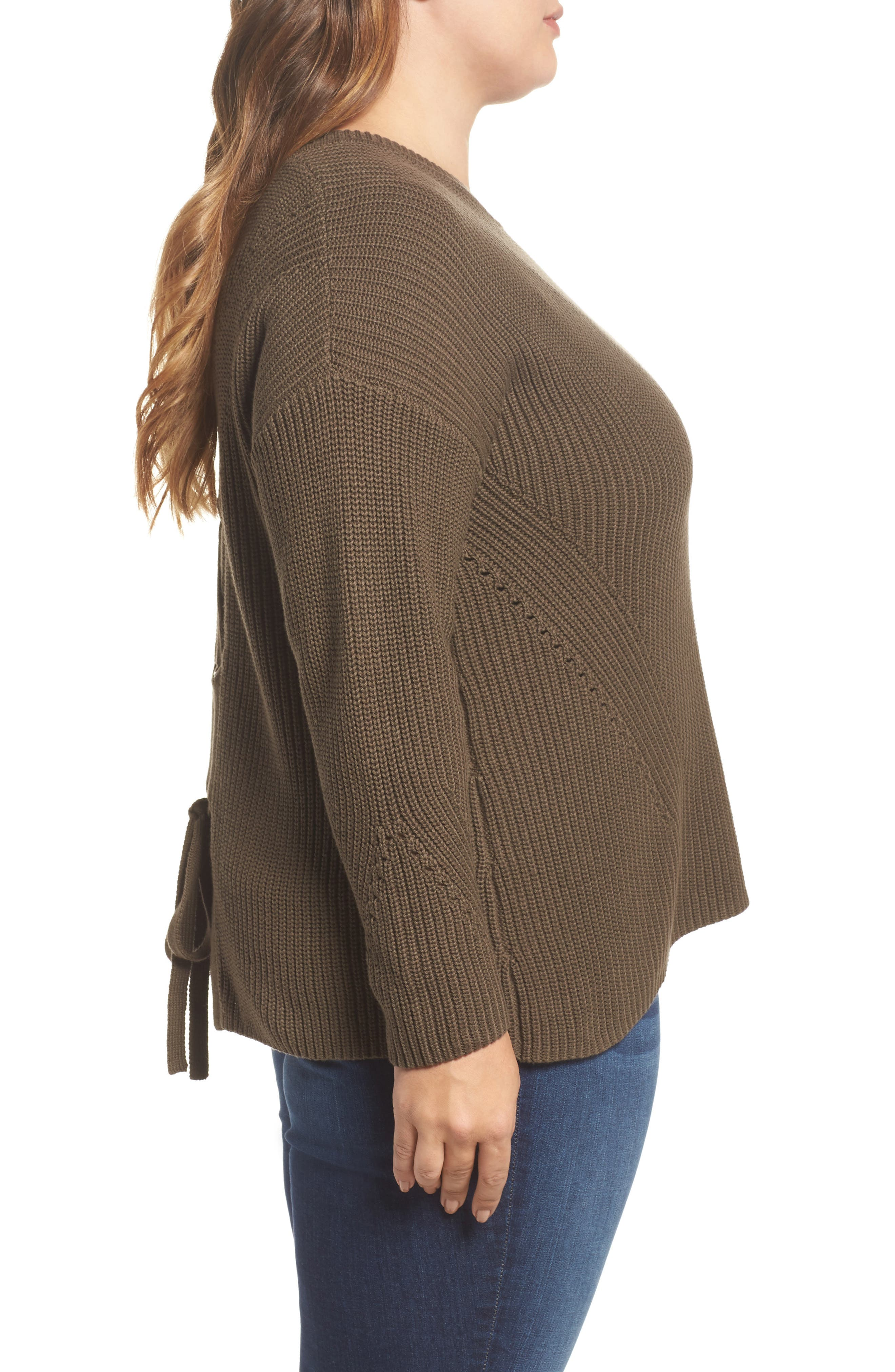 Lace-Up Back Sweater,                             Alternate thumbnail 3, color,                             Olive