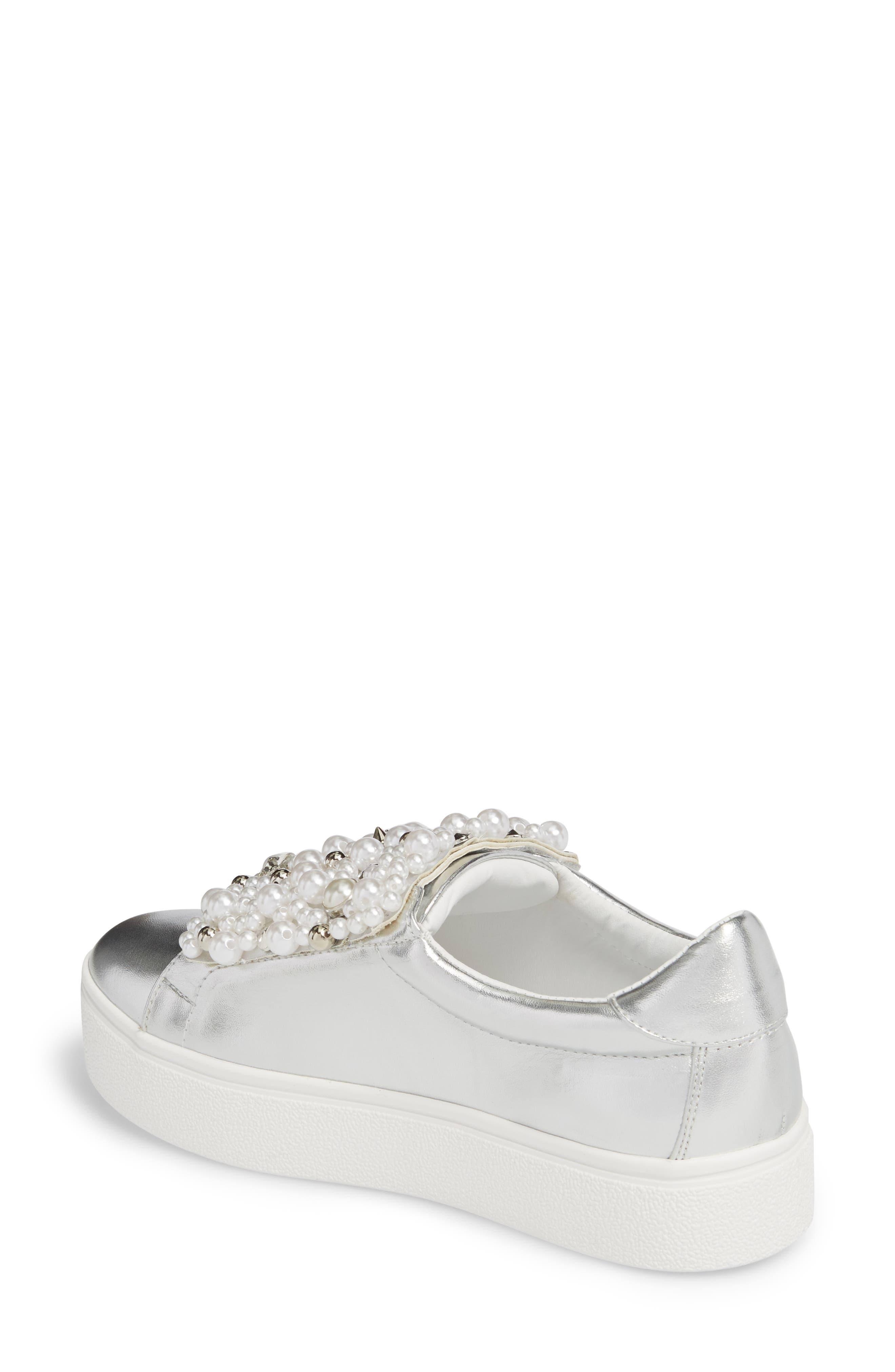 Lion Embellished Slip-On Platform Sneaker,                             Alternate thumbnail 2, color,                             Silver Faux Leather