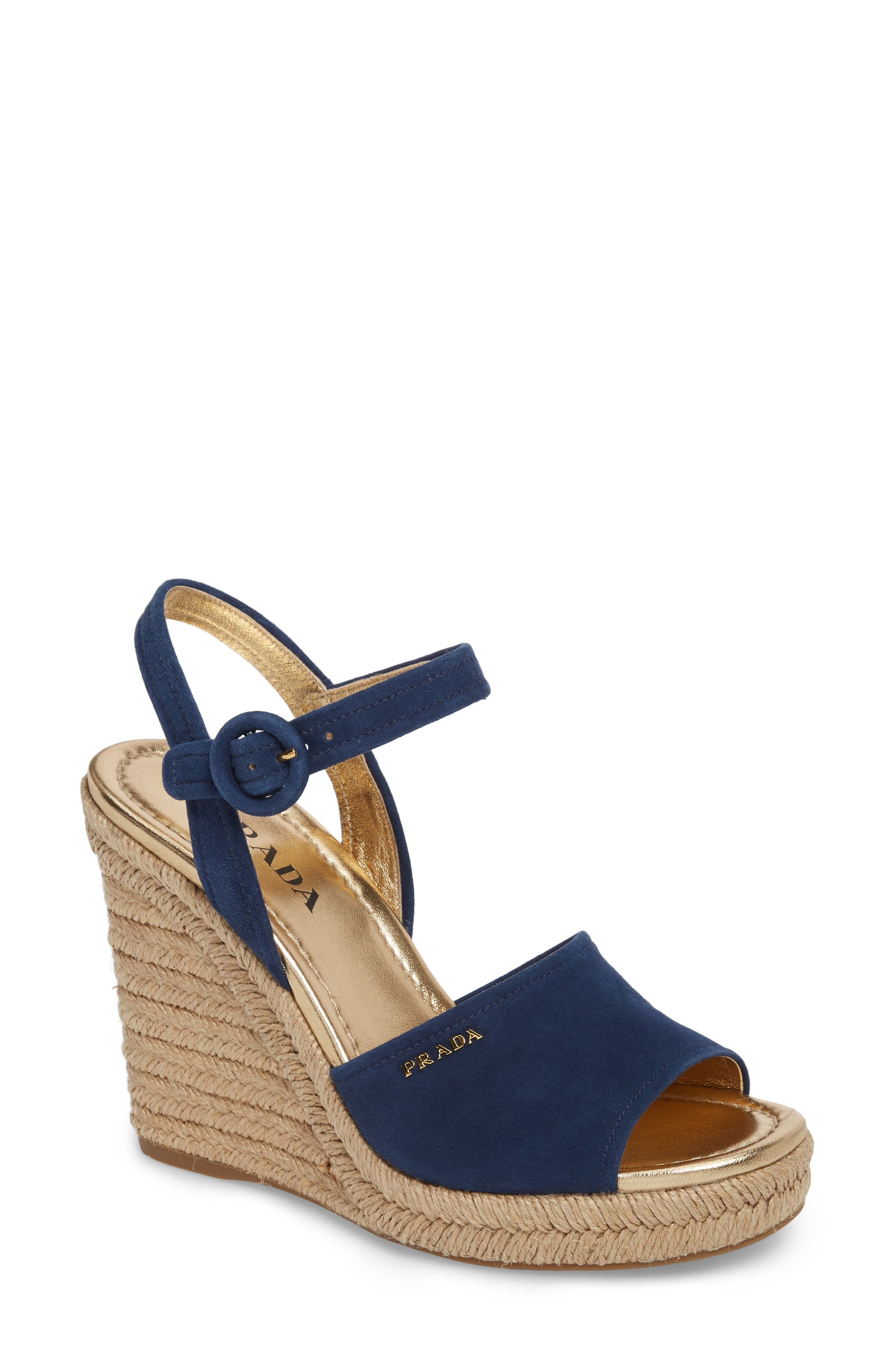Prada Espadrille Wedge Sandal (Women)
