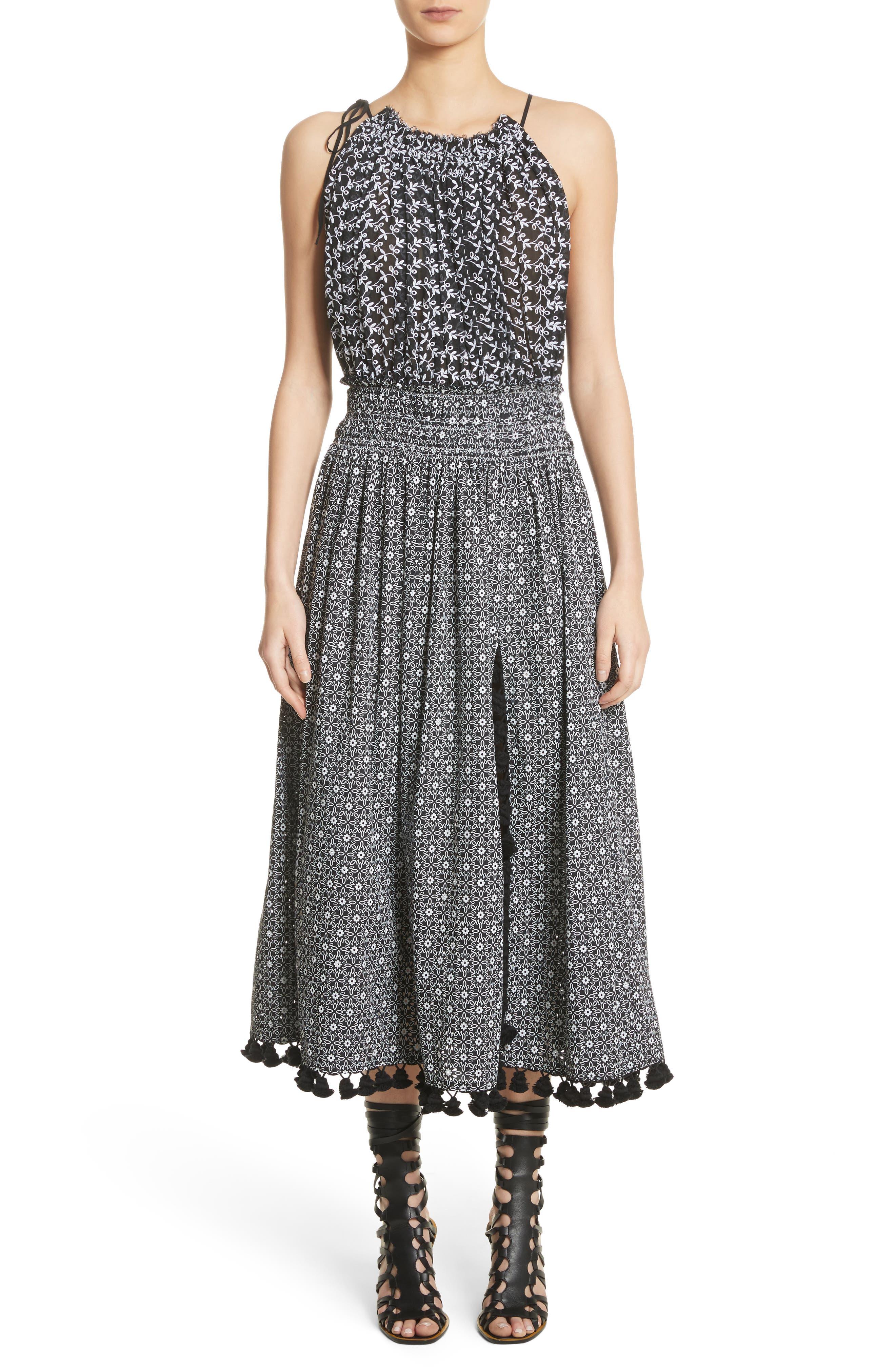Pompom Trim Smock Waist Dress,                             Main thumbnail 1, color,                             Black