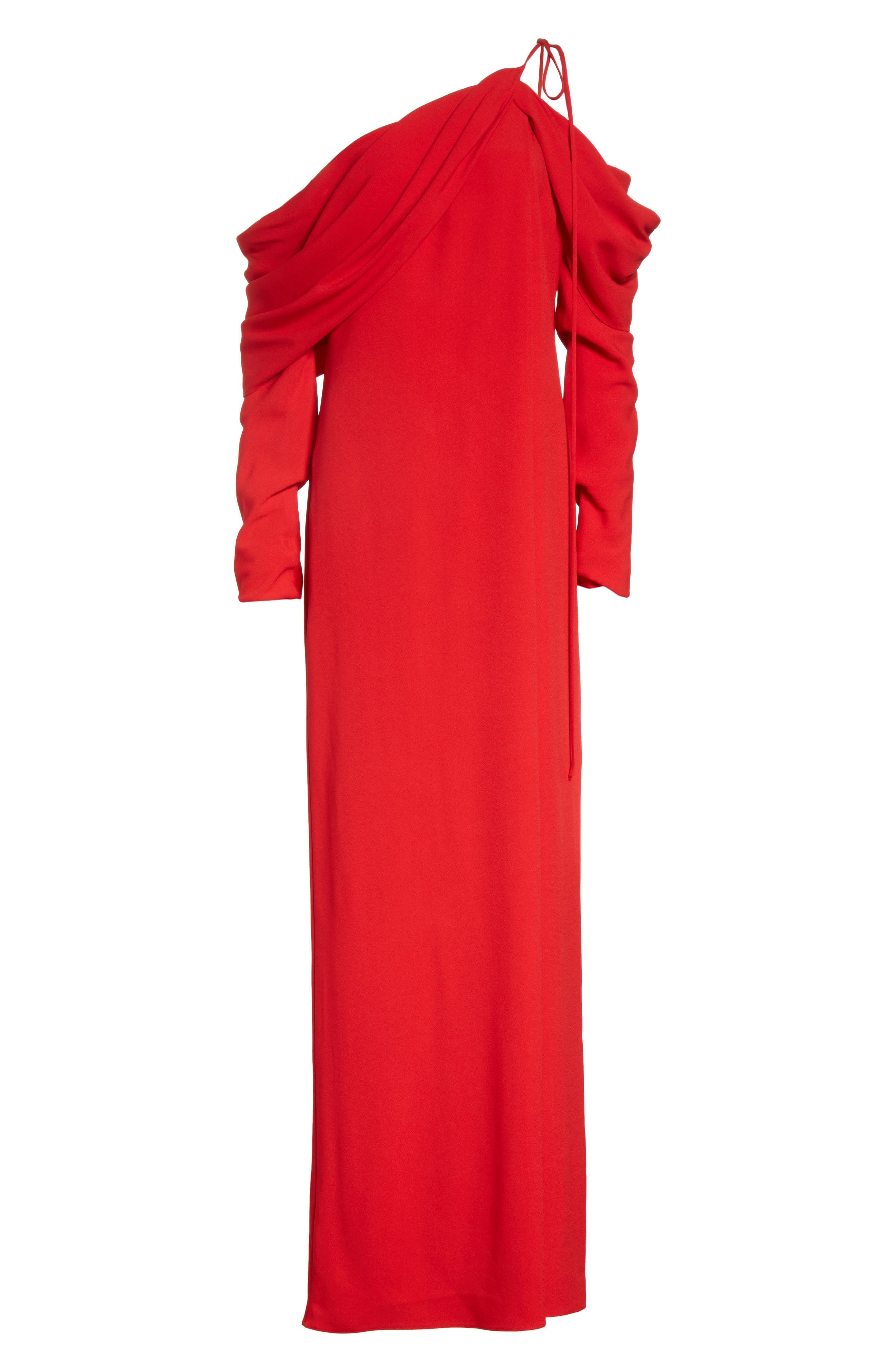 Cowl Sleeve Gown,                             Alternate thumbnail 9, color,                             Red