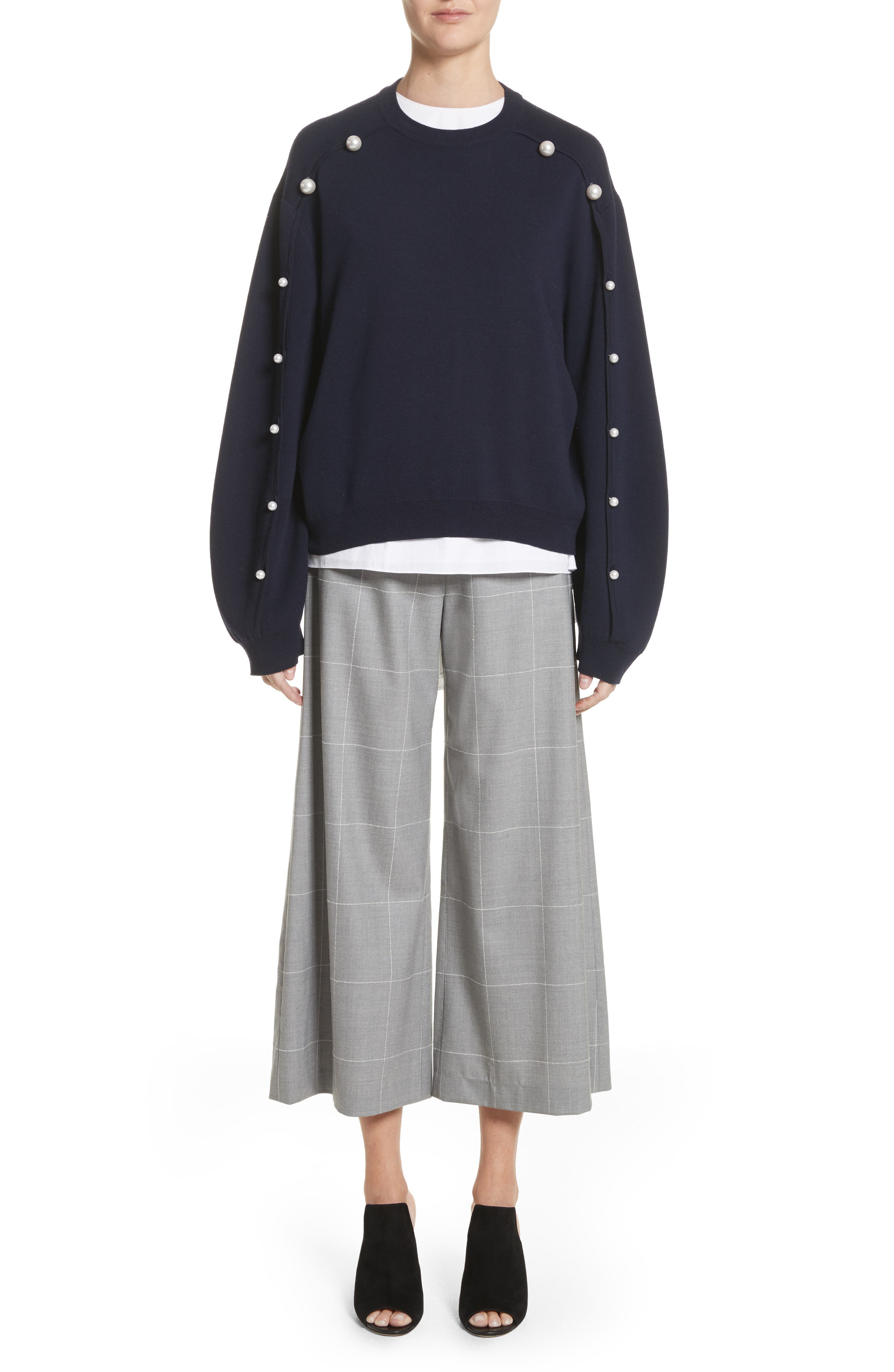 Imitation Pearl Sleeve Merino Wool Sweater,                             Alternate thumbnail 8, color,                             Navy/ Black
