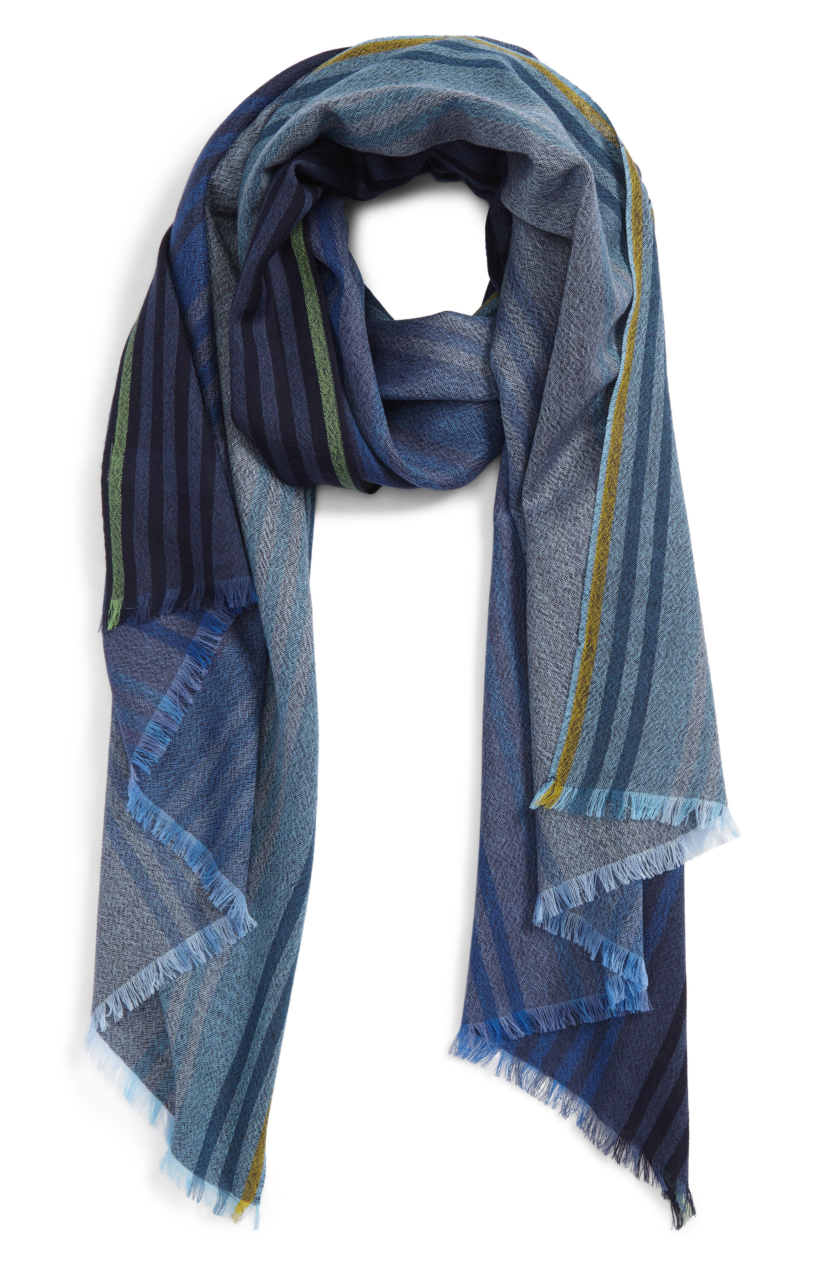 Stripe Wool Scarf,                         Main,                         color, Navy
