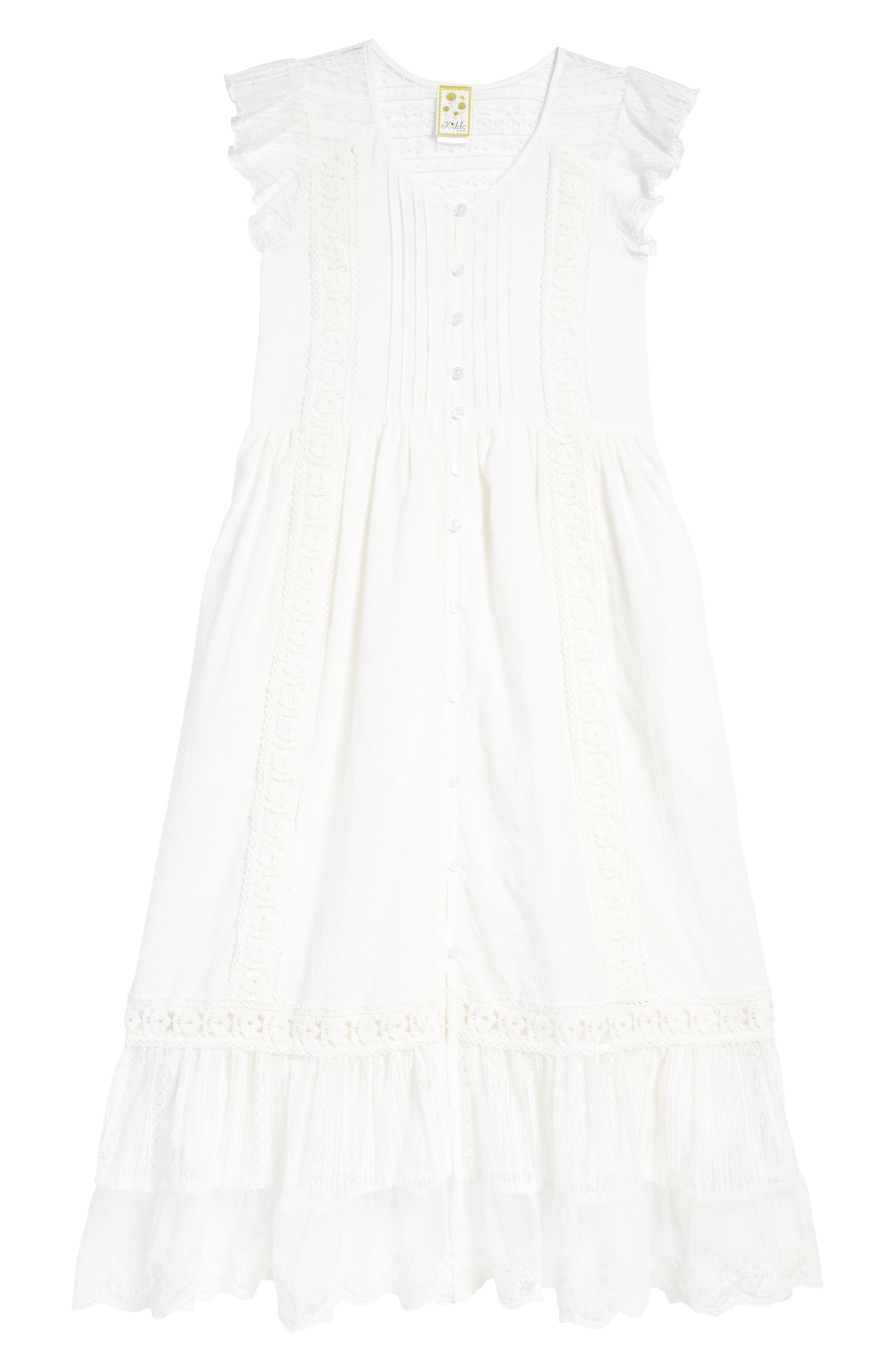 Lace Trim Maxi Dress,                         Main,                         color, Ivory