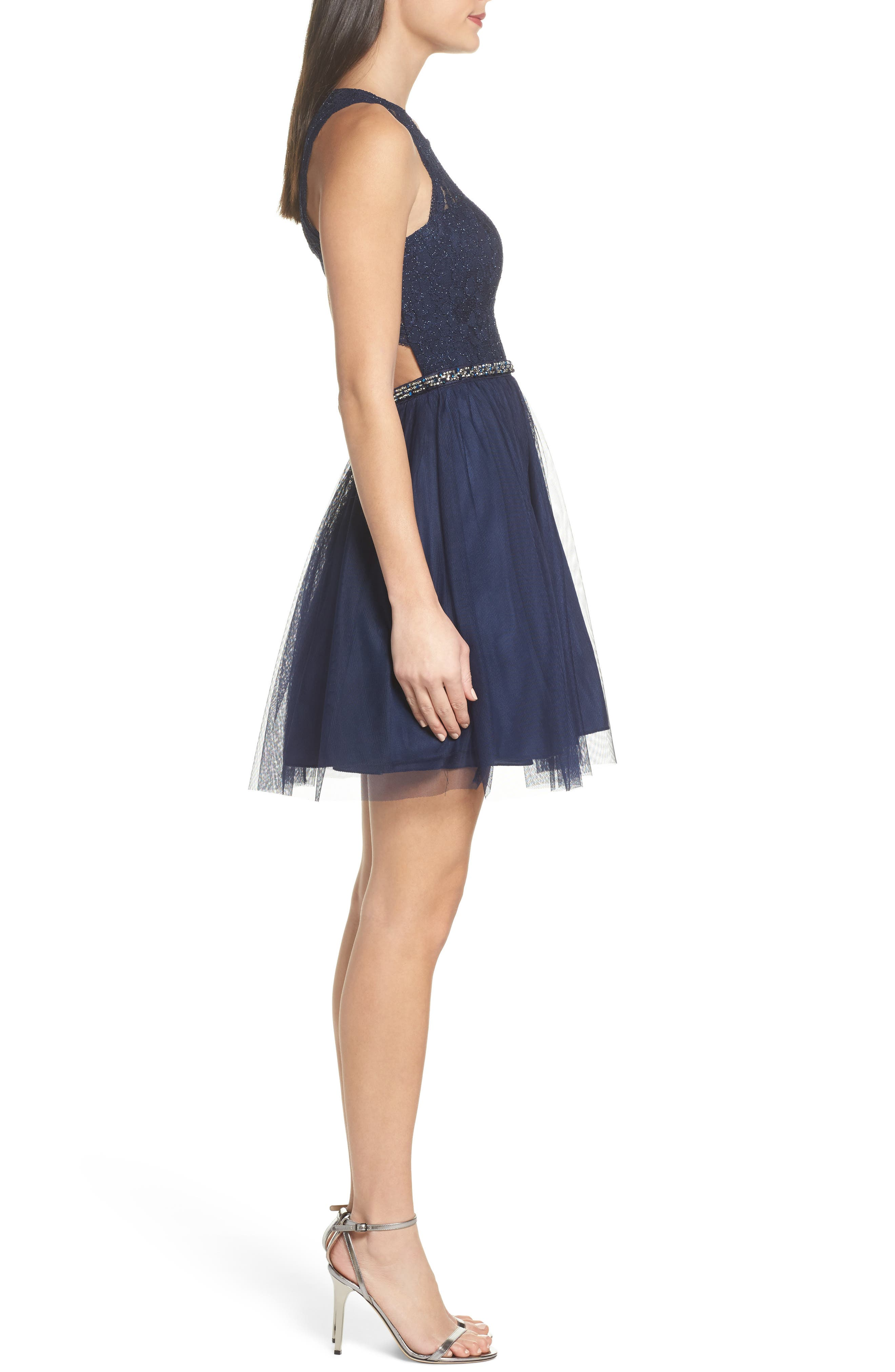 Glitter Lace Fit & Flare Dress,                             Alternate thumbnail 3, color,                             Navy