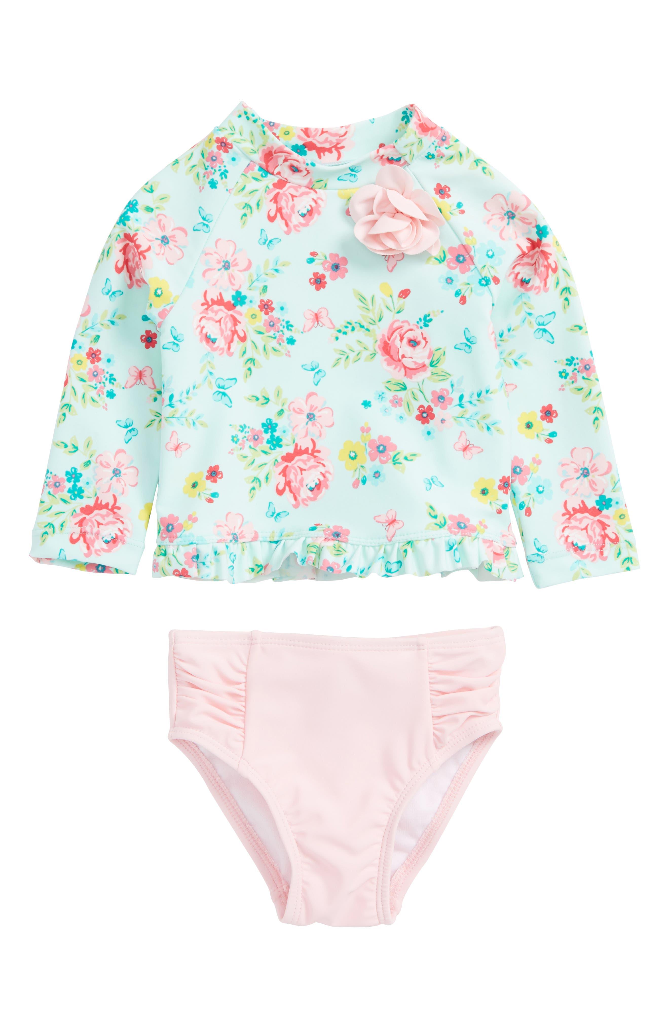 Main Image - Little Me Aqua Rose Two-Piece Rashguard Swimsuit (Baby Girls)