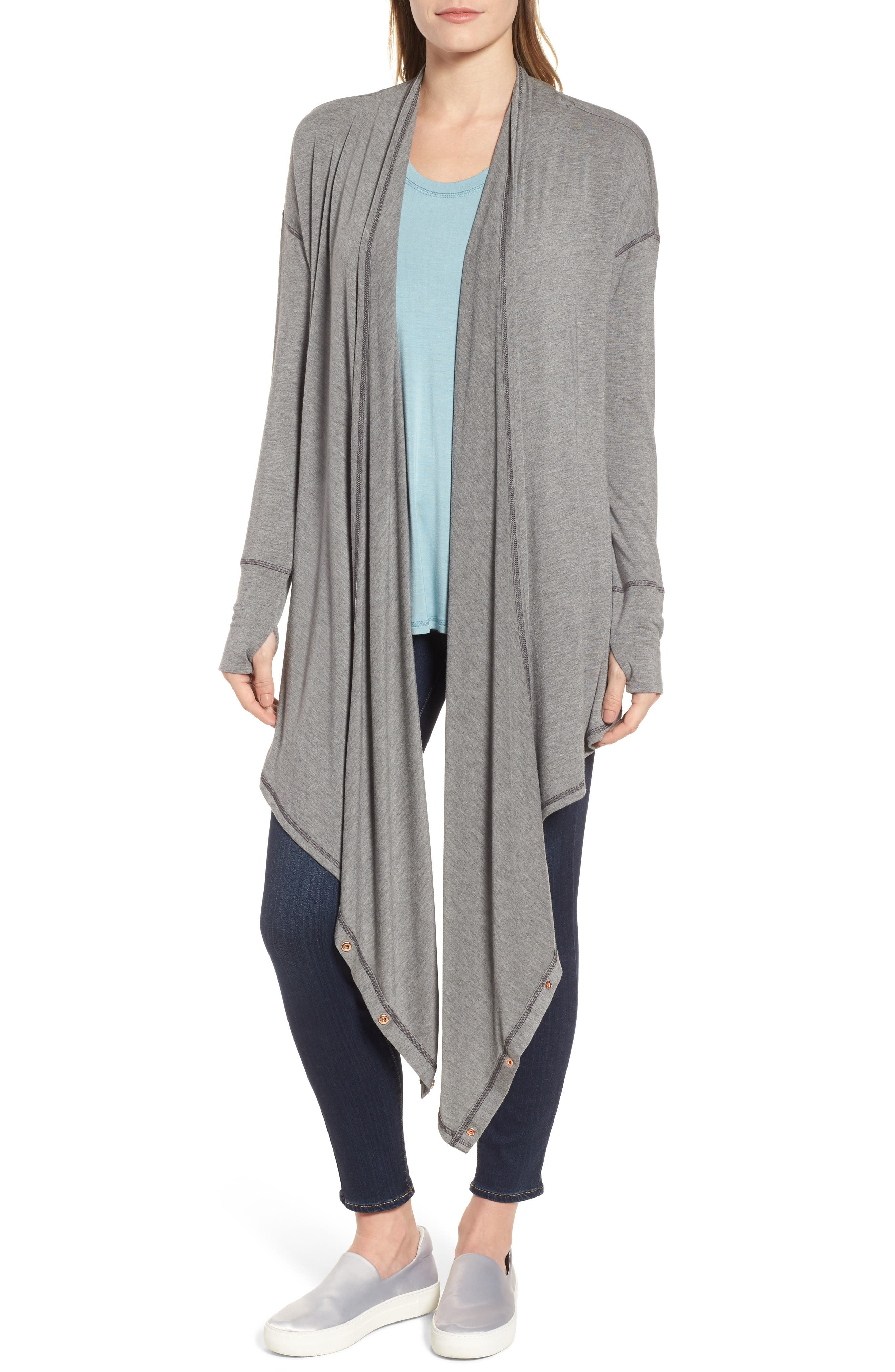Off-Duty Long Convertible Cardigan,                             Alternate thumbnail 4, color,                             Grey Dark Heather