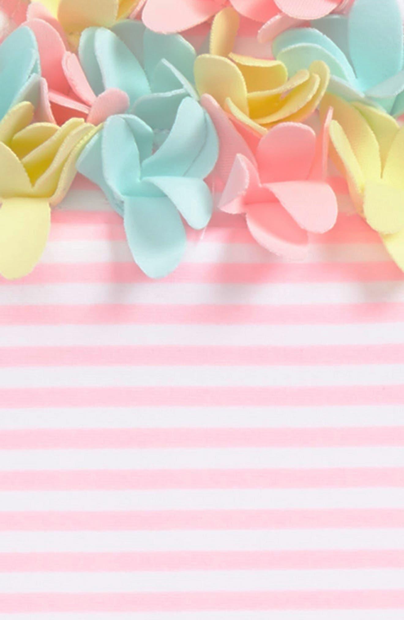 Alternate Image 2  - Little Me Flower Appliqué Skirted One-Piece Swimsuit (Baby Girls)
