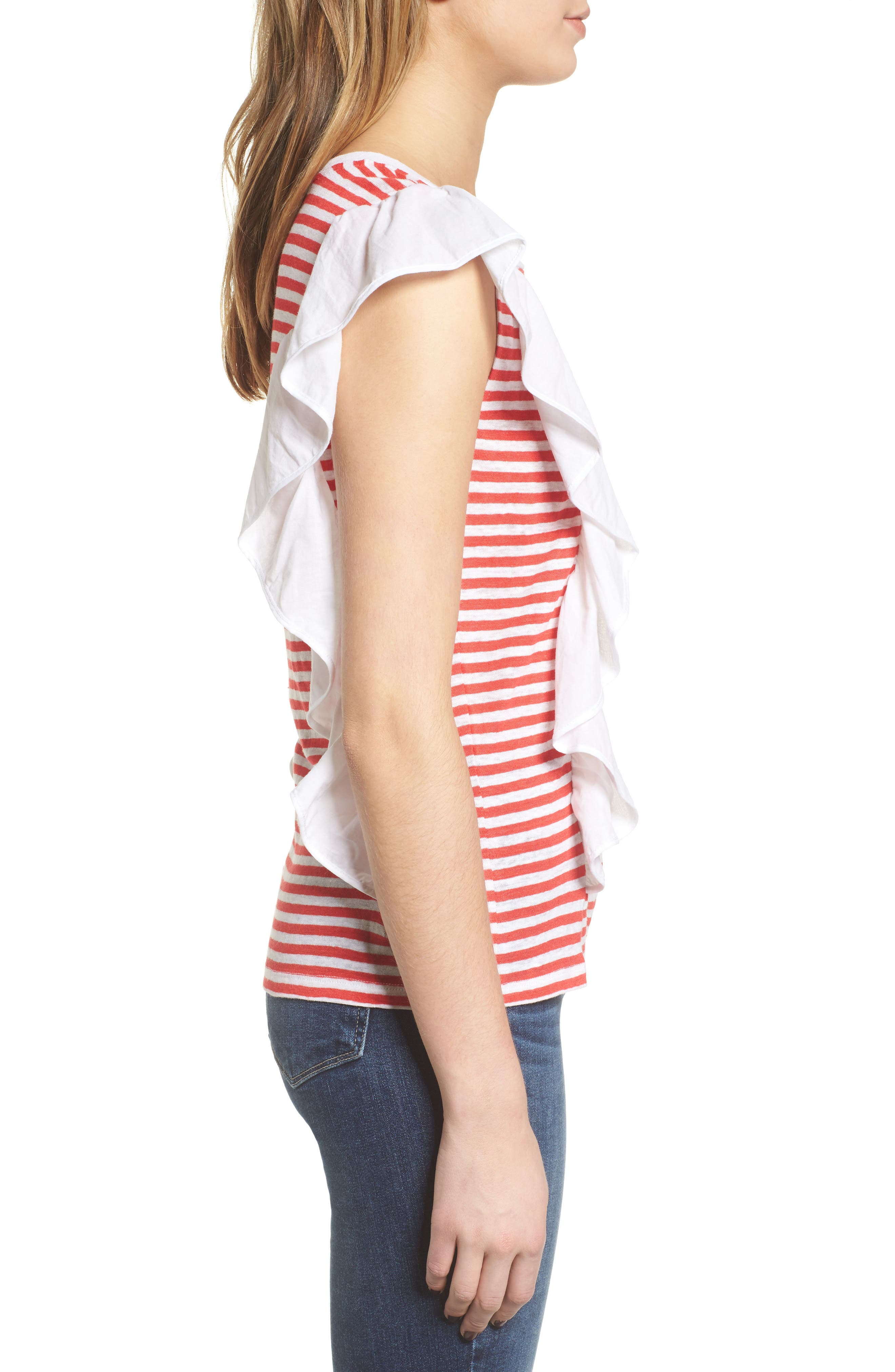Ruffle Linen Tee,                             Alternate thumbnail 3, color,                             Red Hibiscus Stripe Combo