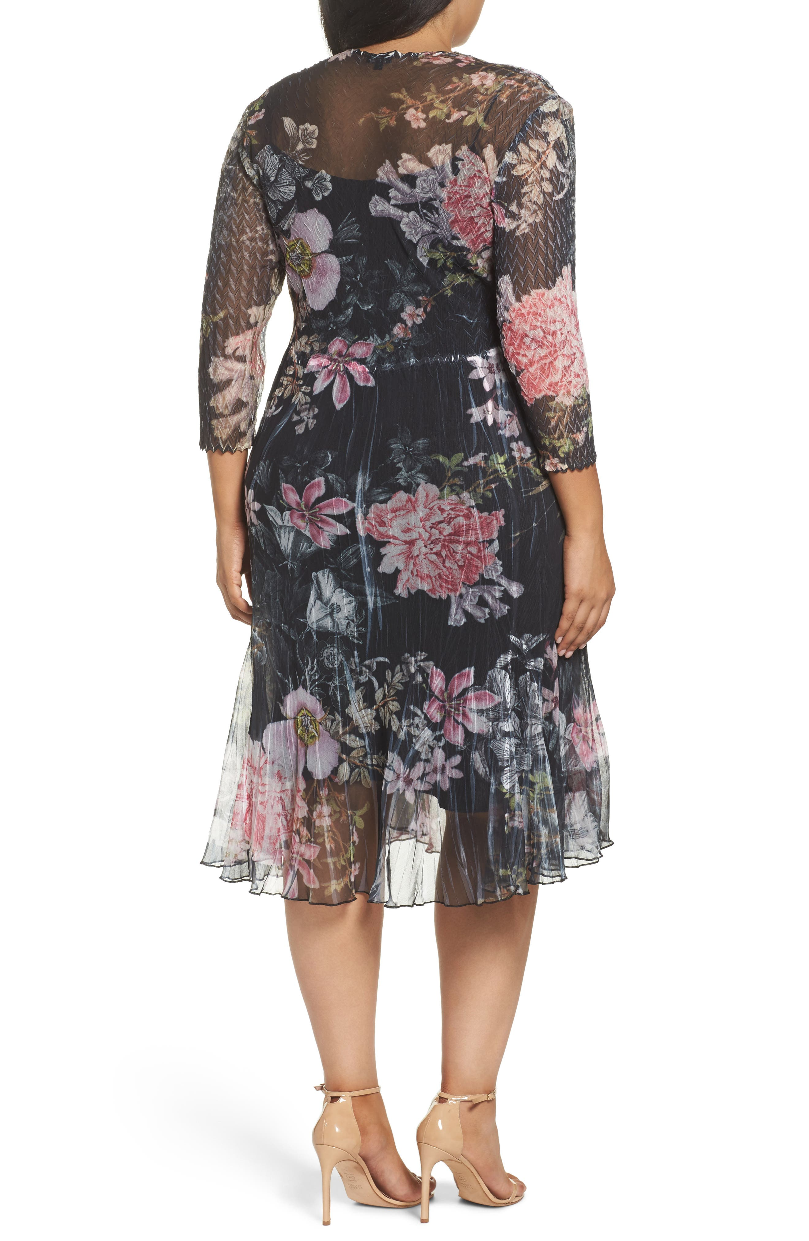 Kamarov Floral Charmeuse & Chiffon Floral A-Line Dress,                             Alternate thumbnail 2, color,                             Moon Flower