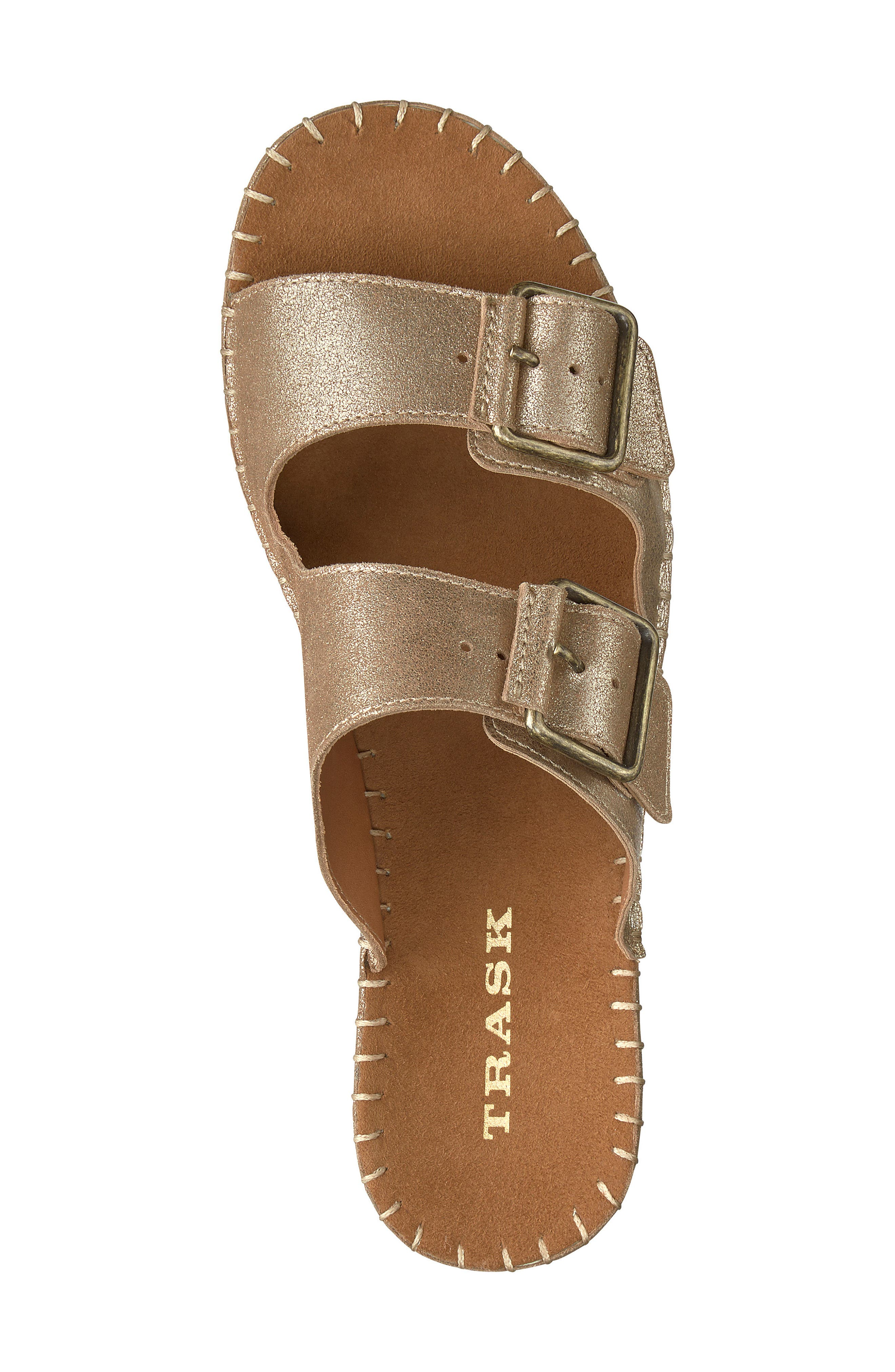 Carli Slide Sandal,                             Alternate thumbnail 5, color,                             Gold Metallic Suede
