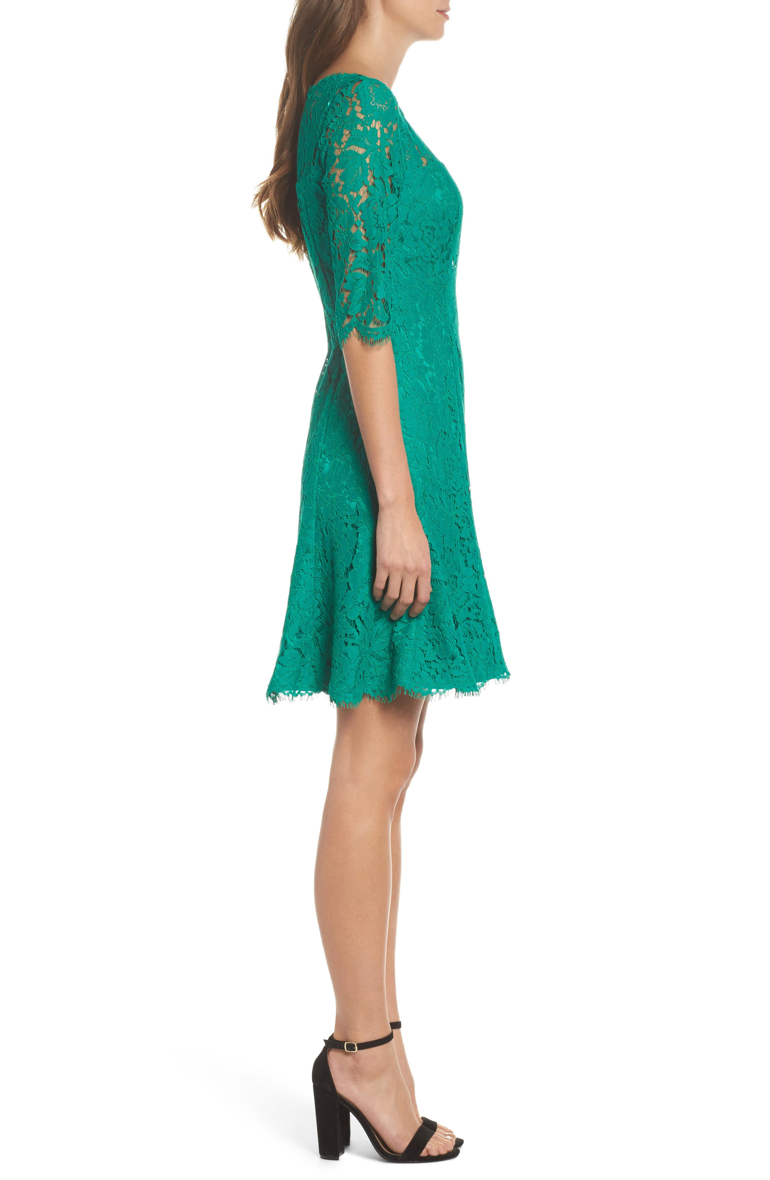 Lace Fit & Flare Dress,                             Alternate thumbnail 3, color,                             Green