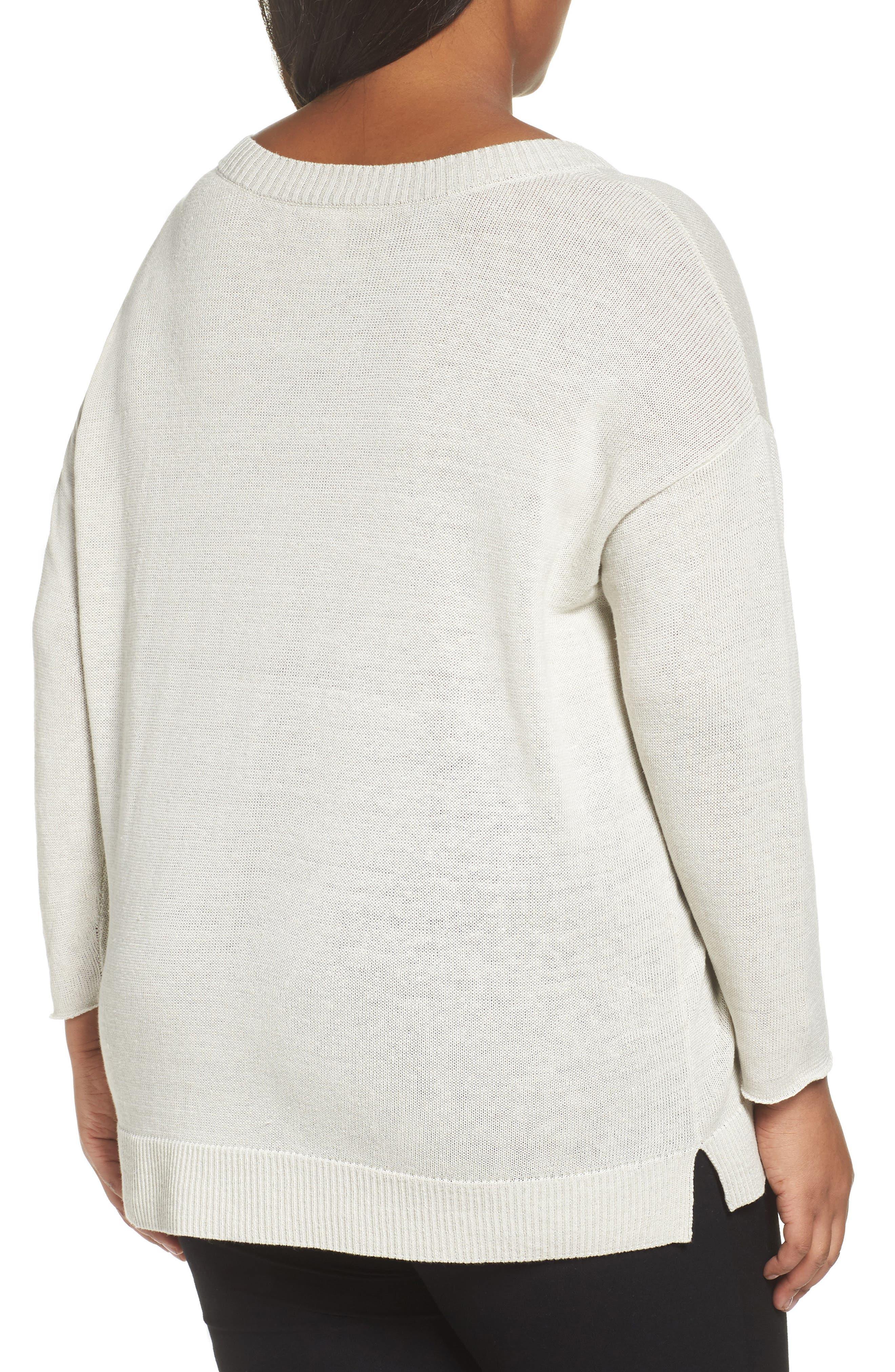 Organic Linen Sweater,                             Alternate thumbnail 2, color,                             Bone