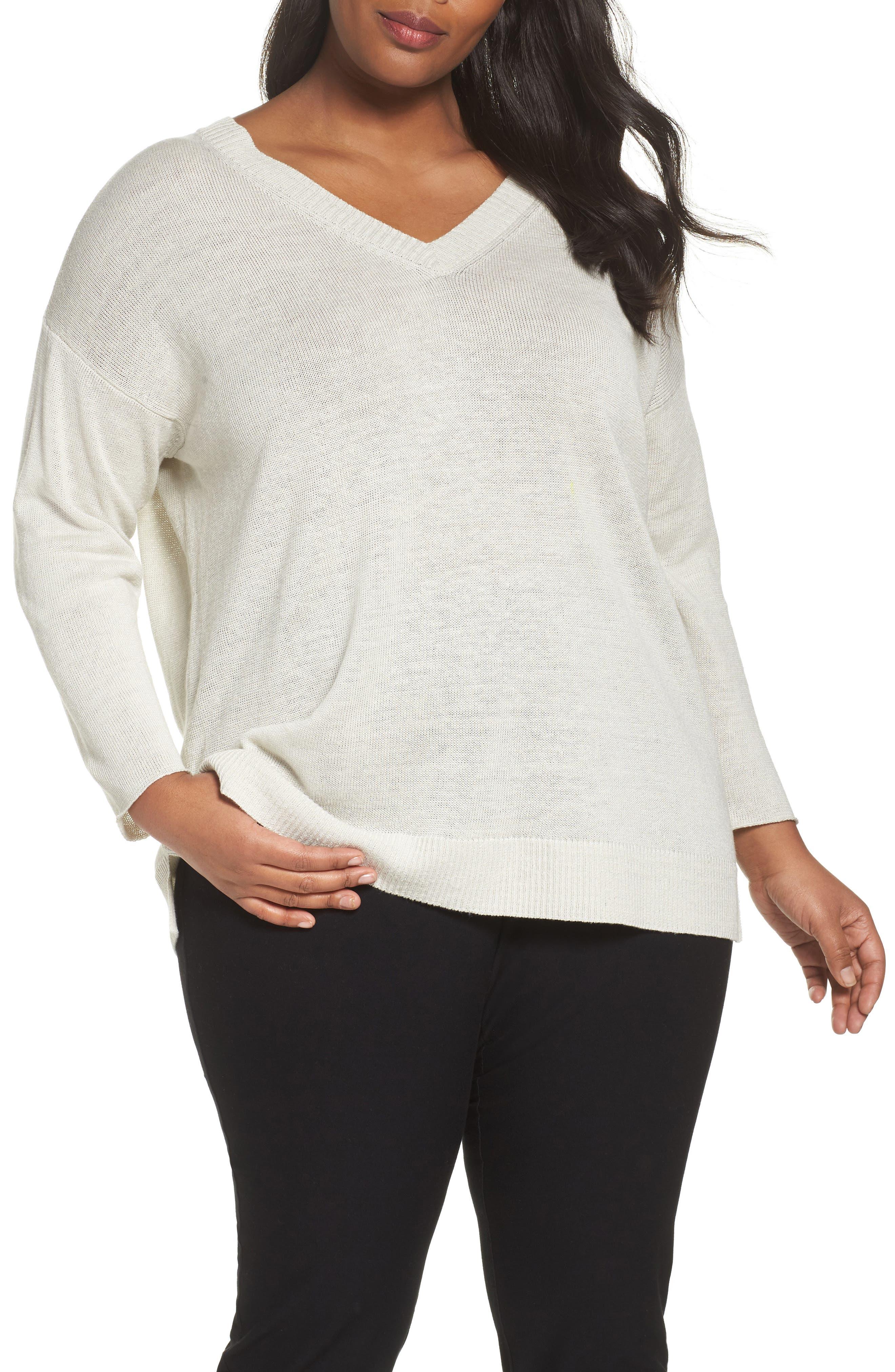 Organic Linen Sweater,                         Main,                         color, Bone