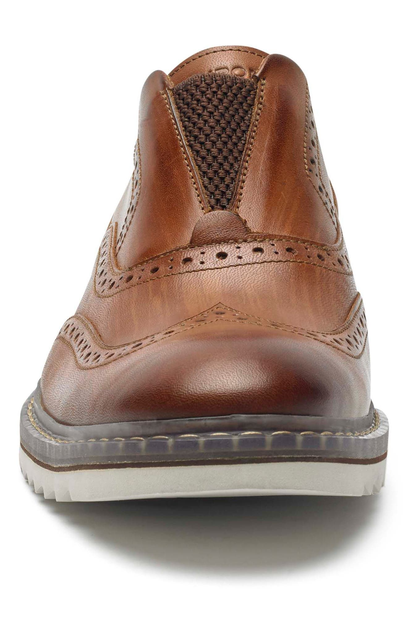 Jaxson Wingtip Slip-On,                             Alternate thumbnail 4, color,                             Tan Leather