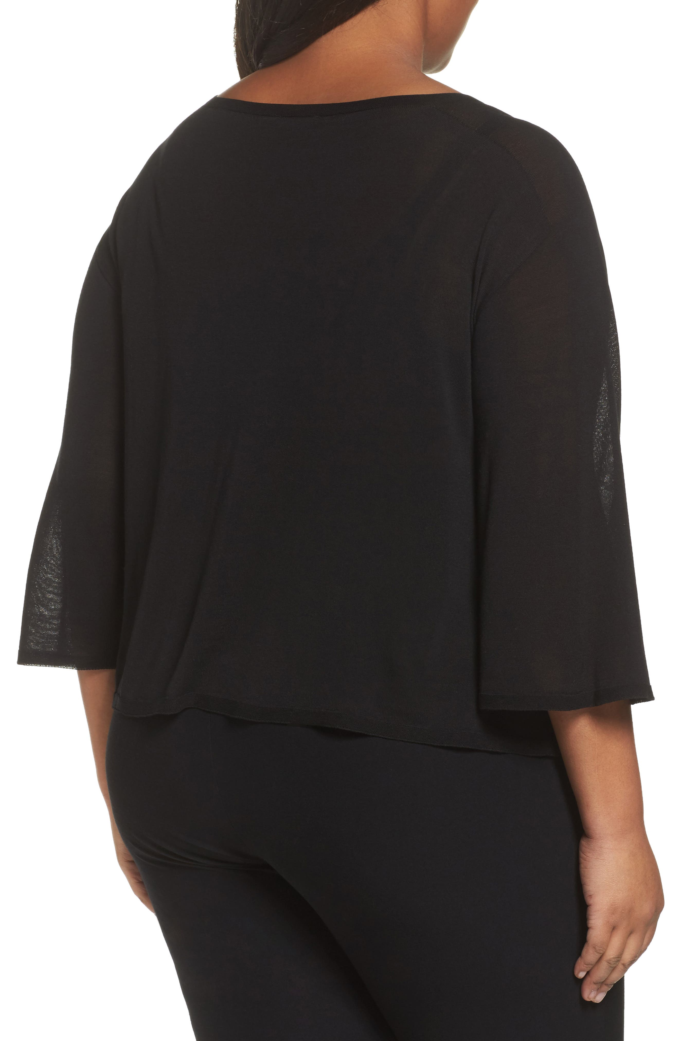 Tencel<sup>®</sup> Lyocell Lyocell Knit Sweater,                             Alternate thumbnail 2, color,                             Black