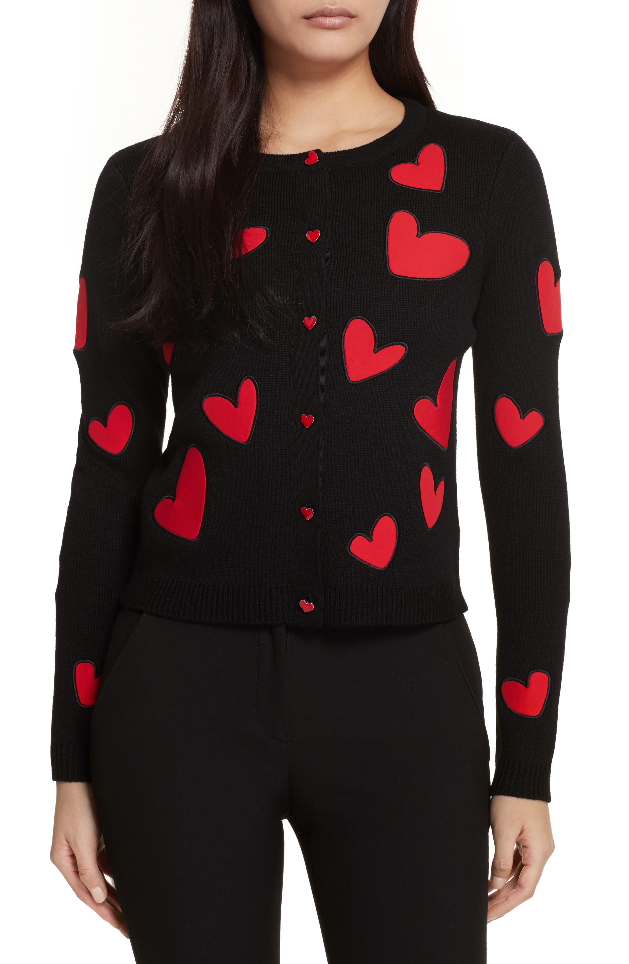 Ruthy Heart Appliqué Cardigan,                             Main thumbnail 1, color,                             Black/ Apple