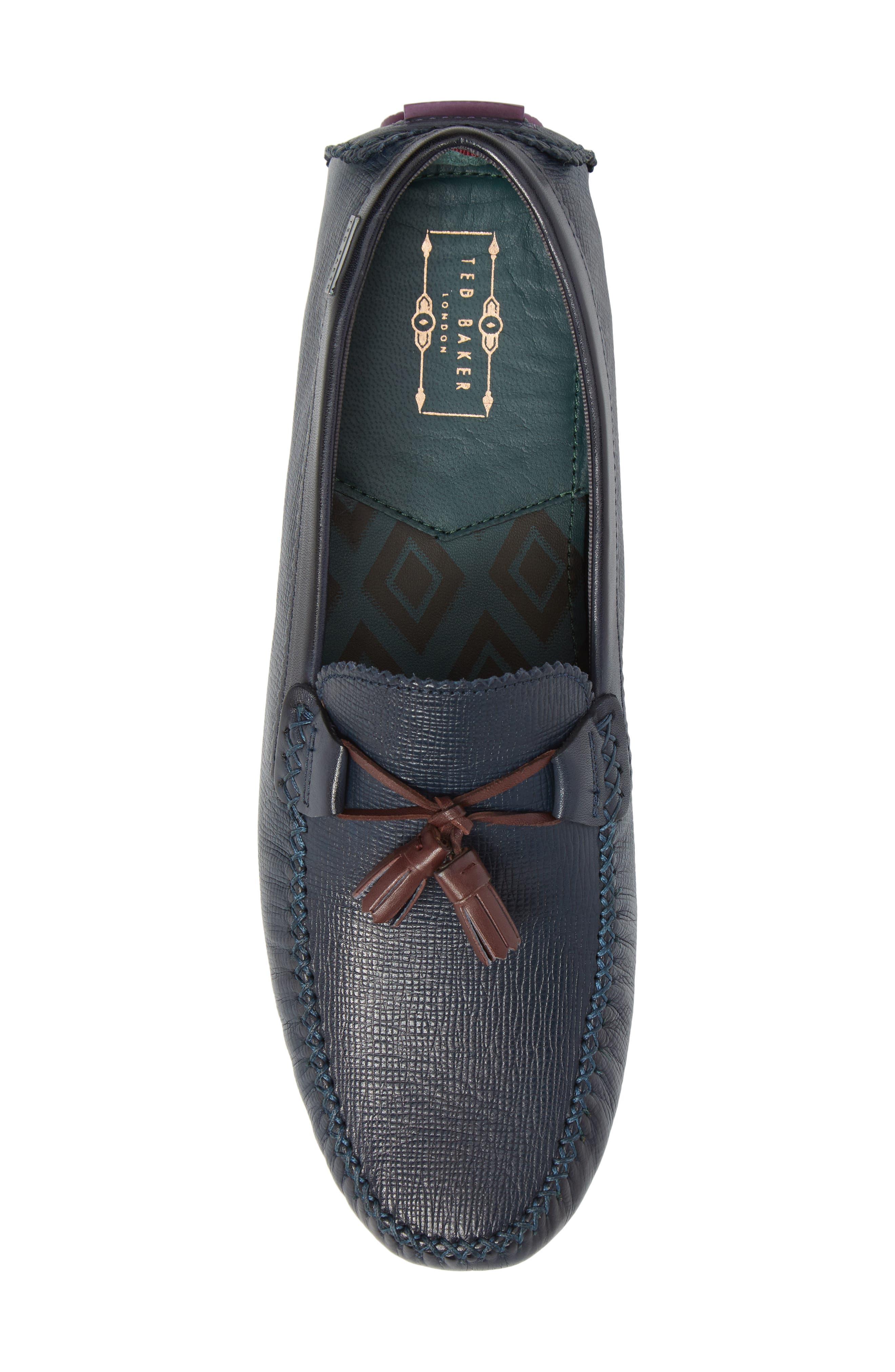 Urbonn Tasseled Driving Loafer,                             Alternate thumbnail 5, color,                             Dark Blue Leather