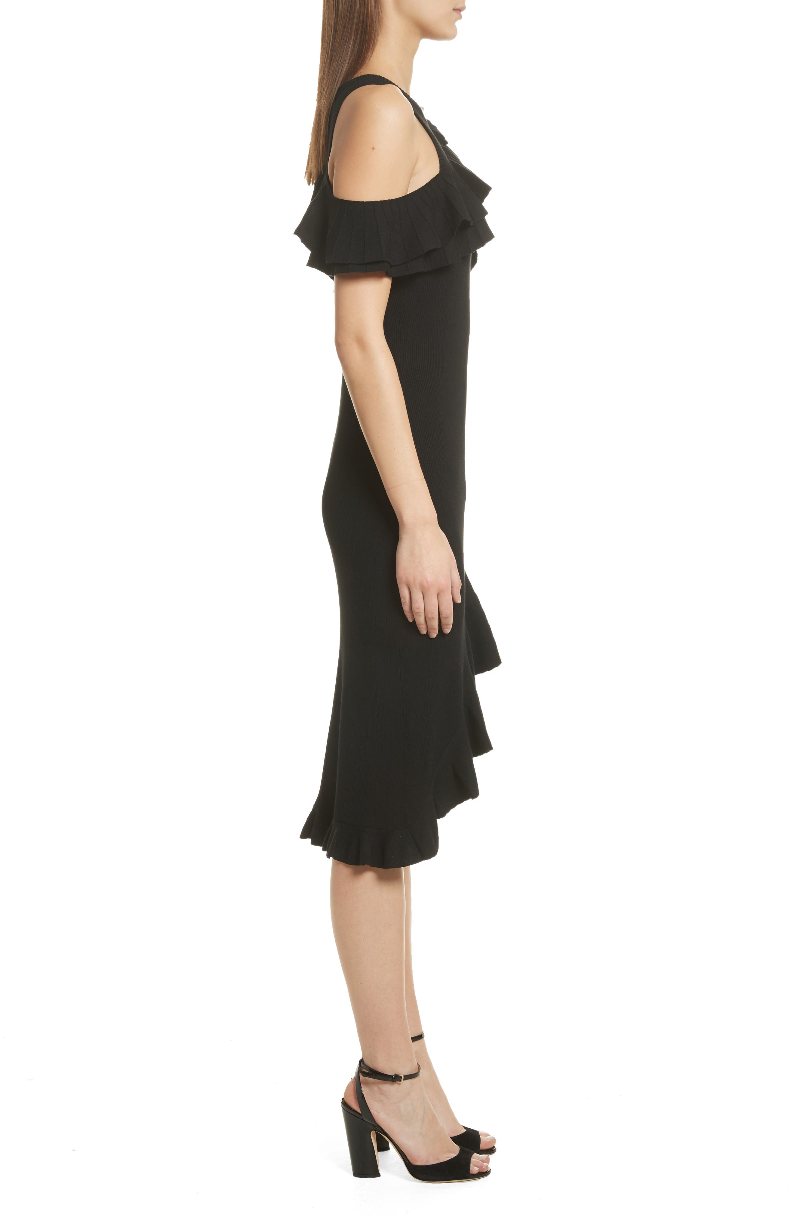 Kellam Ruffle Body-Con Dress,                             Alternate thumbnail 3, color,                             Black