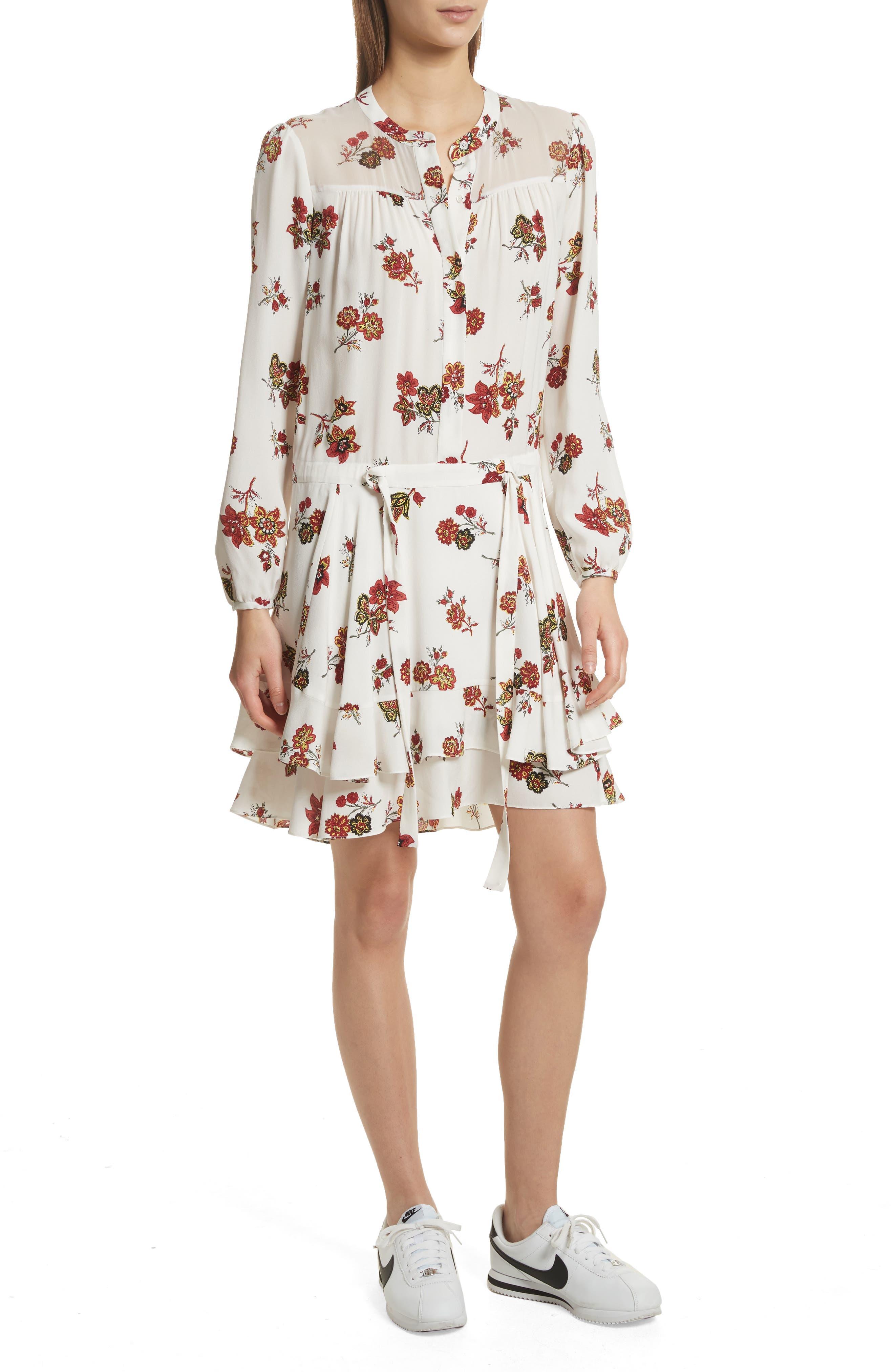 Rori Silk Drop Waist Dress,                             Main thumbnail 1, color,                             Eggshell