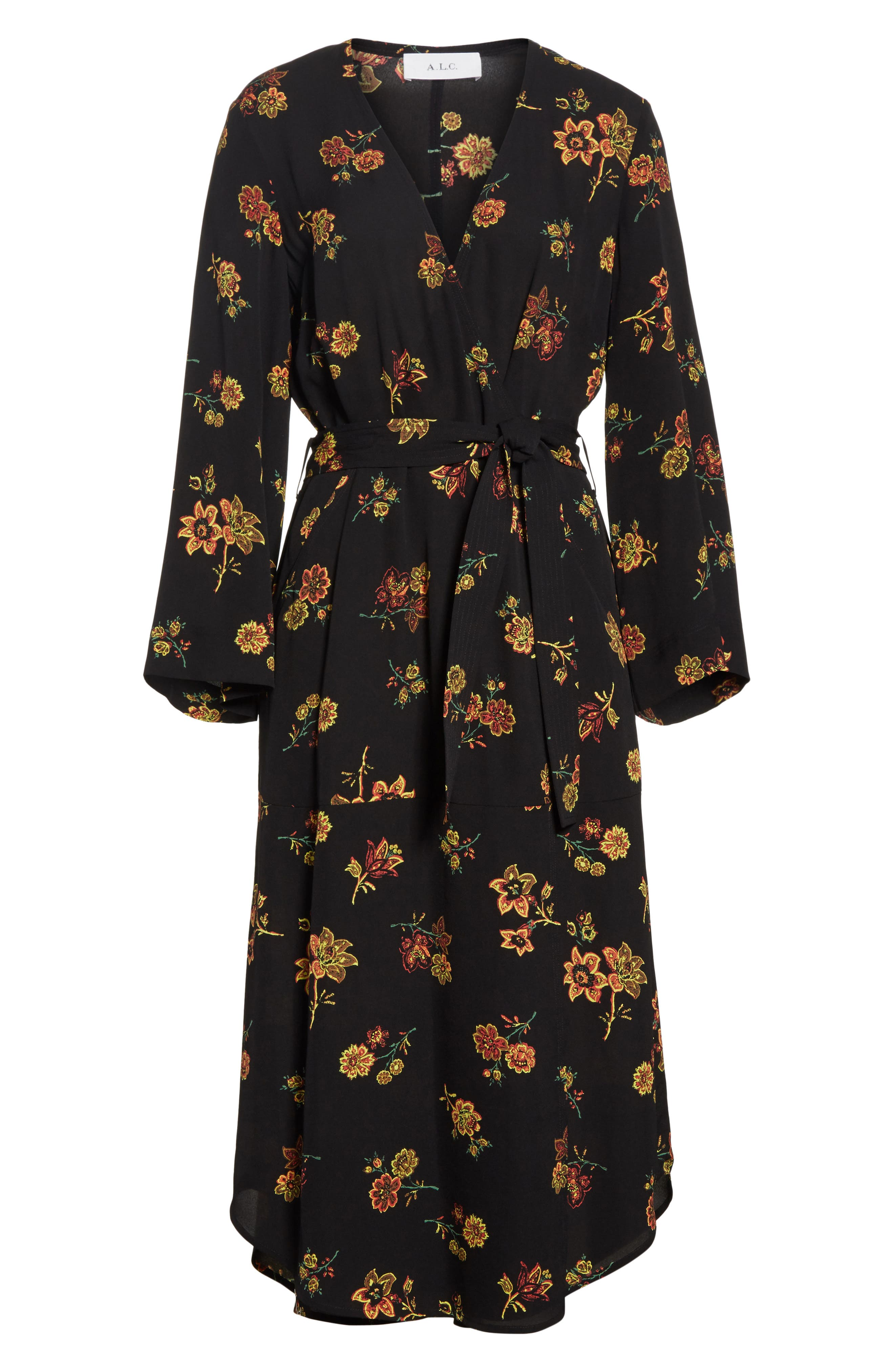 Wilma Silk Wrap Dress,                             Alternate thumbnail 6, color,                             Black