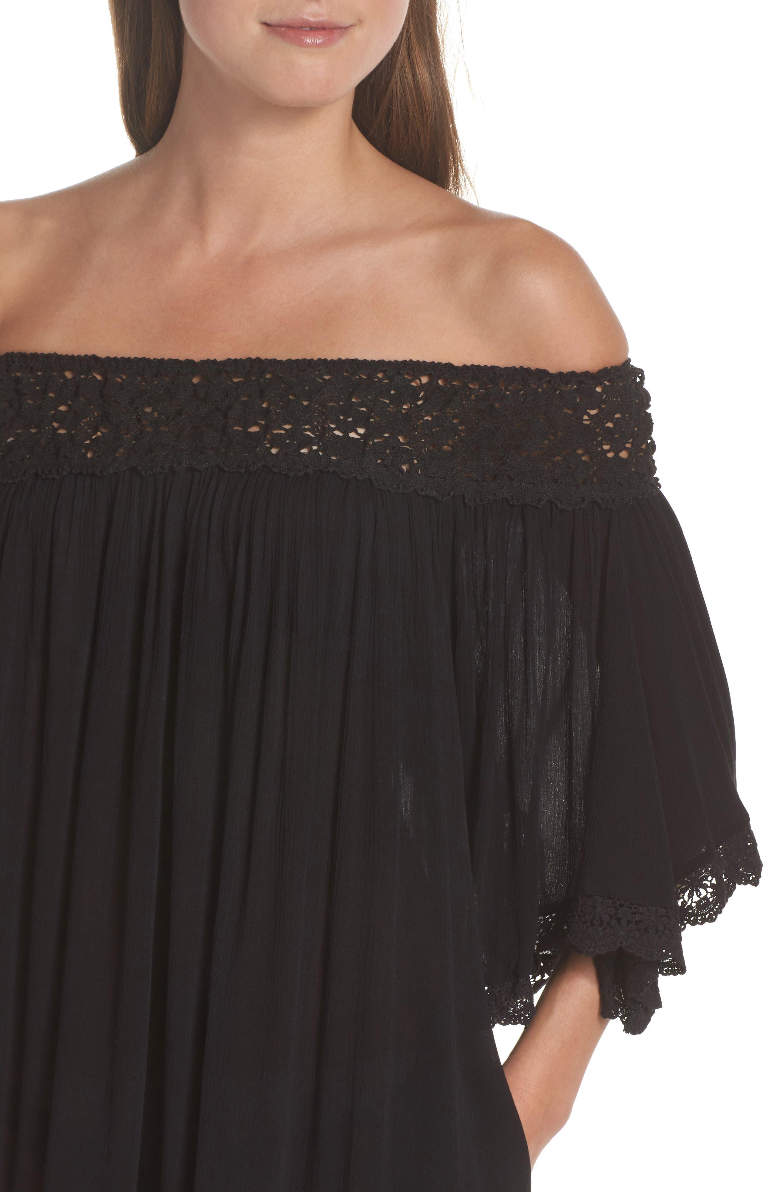 Rimini Crochet Cover-Up Dress,                             Alternate thumbnail 4, color,                             Black