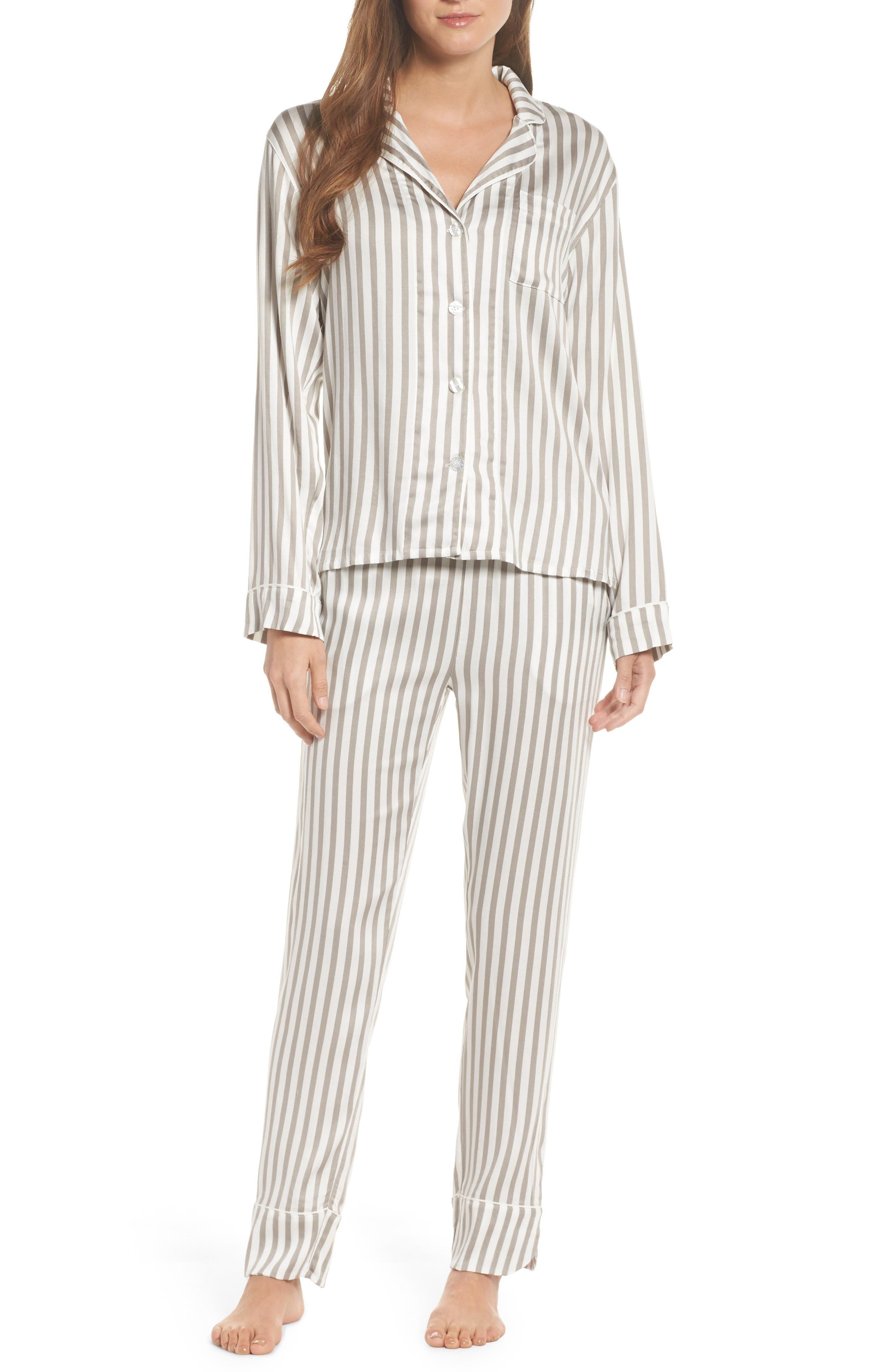 Stripe Pajamas,                             Main thumbnail 1, color,                             Silver