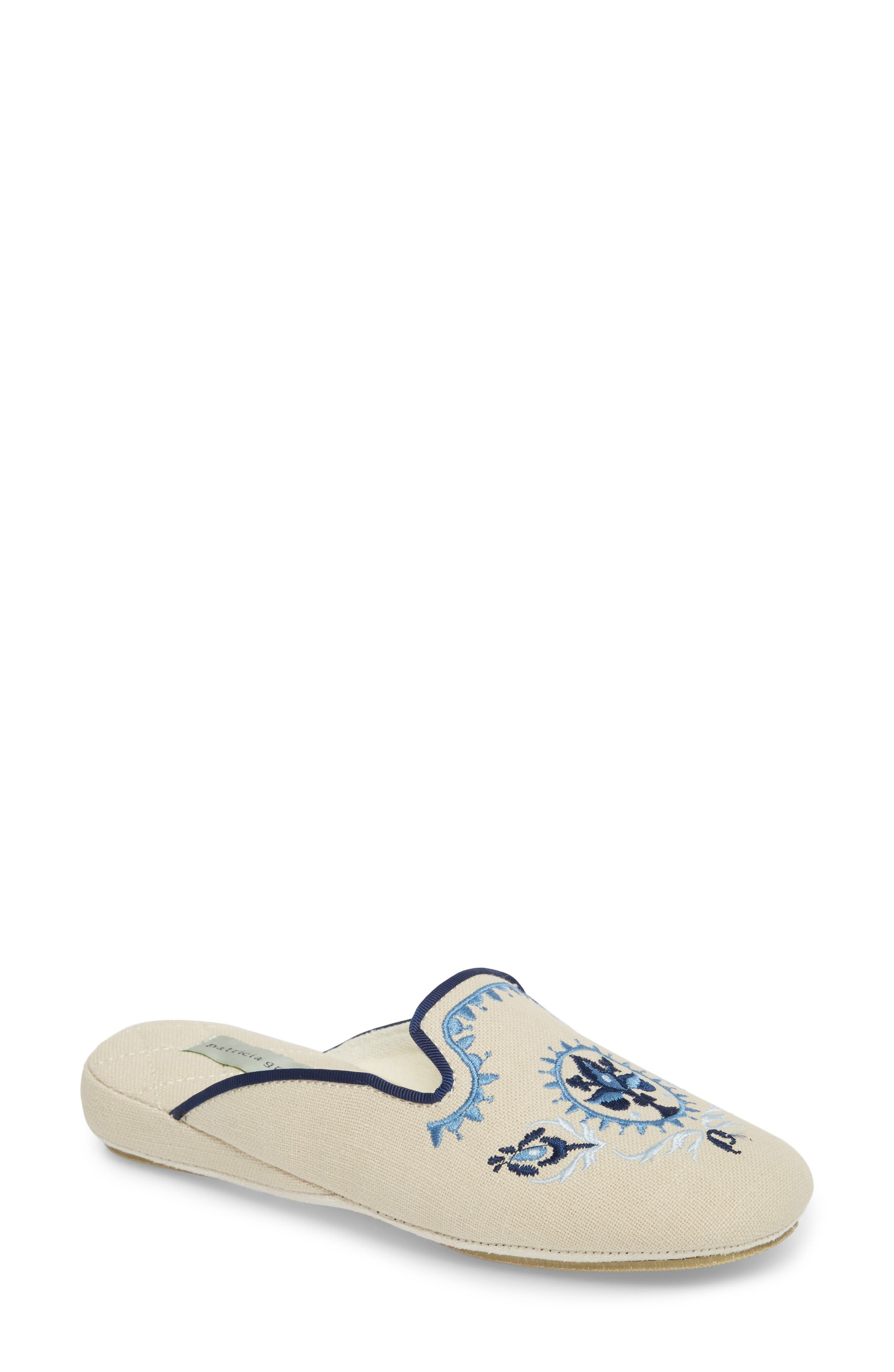 Rosa Embroidered Slipper,                         Main,                         color, Blue Fabric