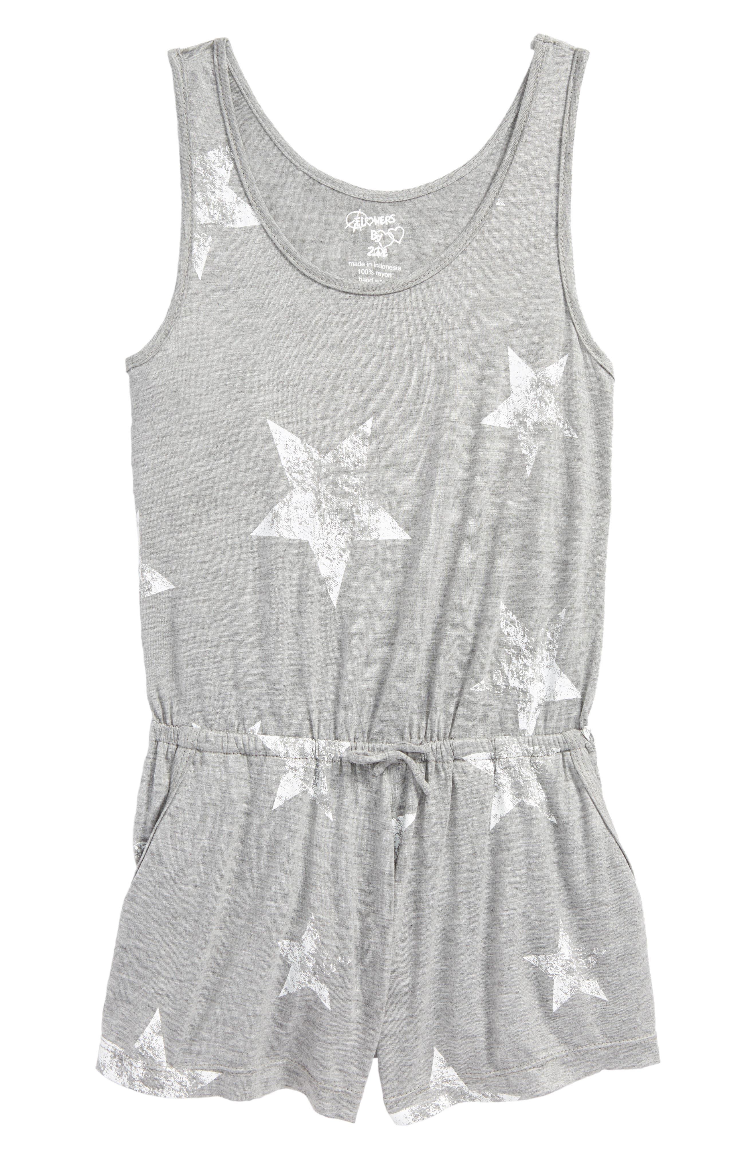 Star Print Knit Romper,                         Main,                         color, Grey Mgrwst Stars Mgrwst