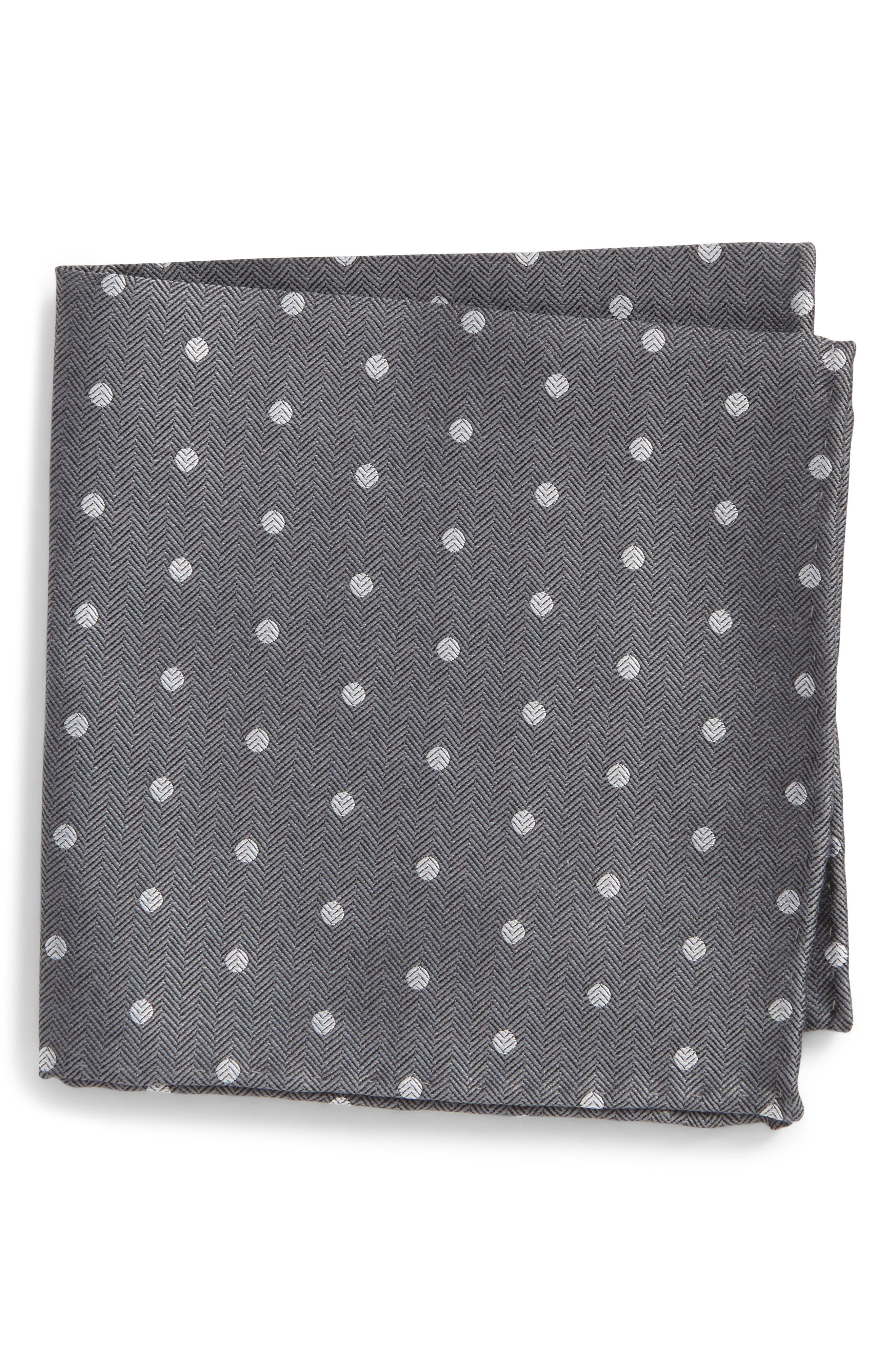 Dotted Hitch Silk & Wool Pocket Square,                         Main,                         color, Grey