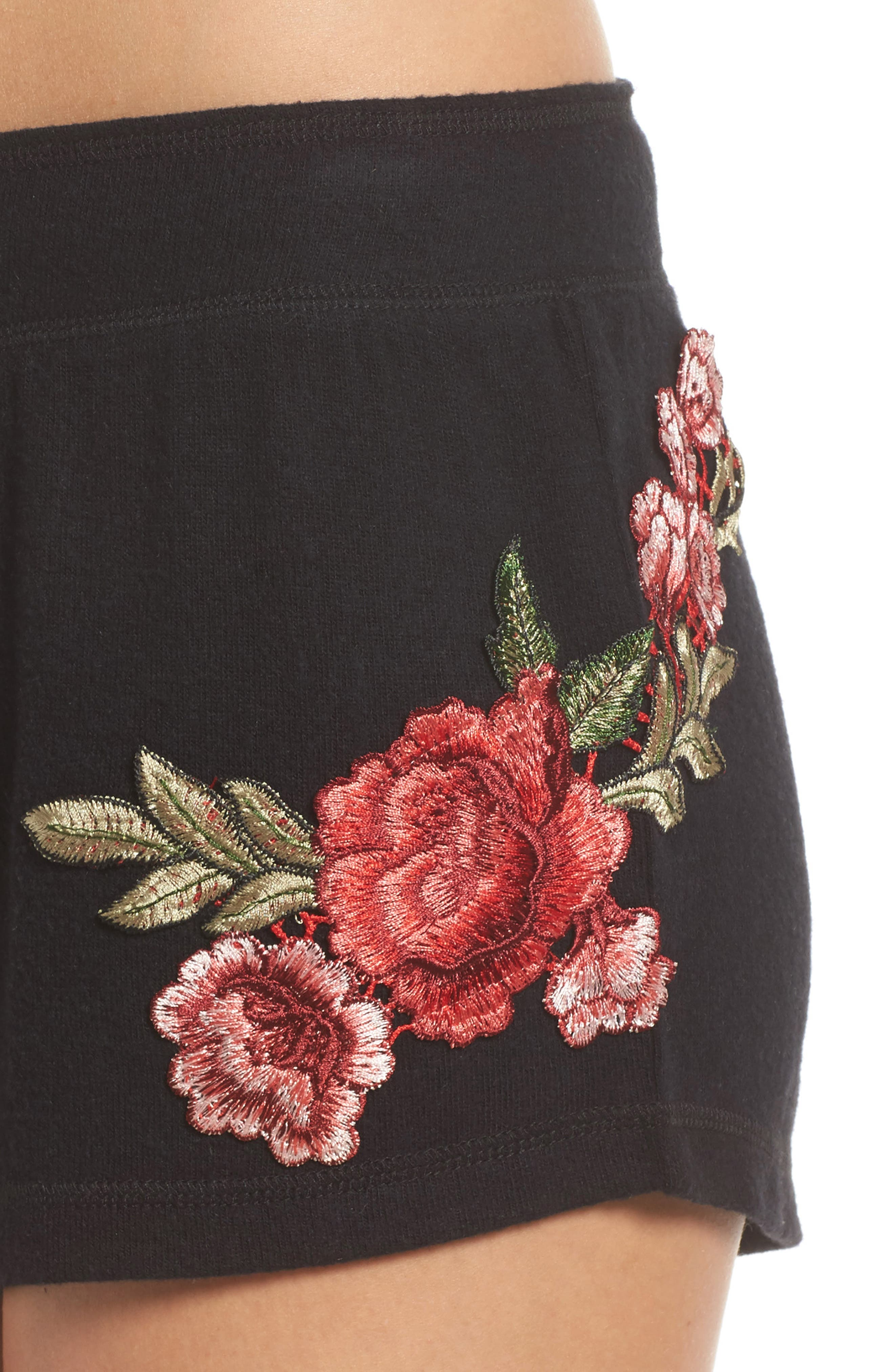 Embroidered Lounge Shorts,                             Alternate thumbnail 6, color,                             Black