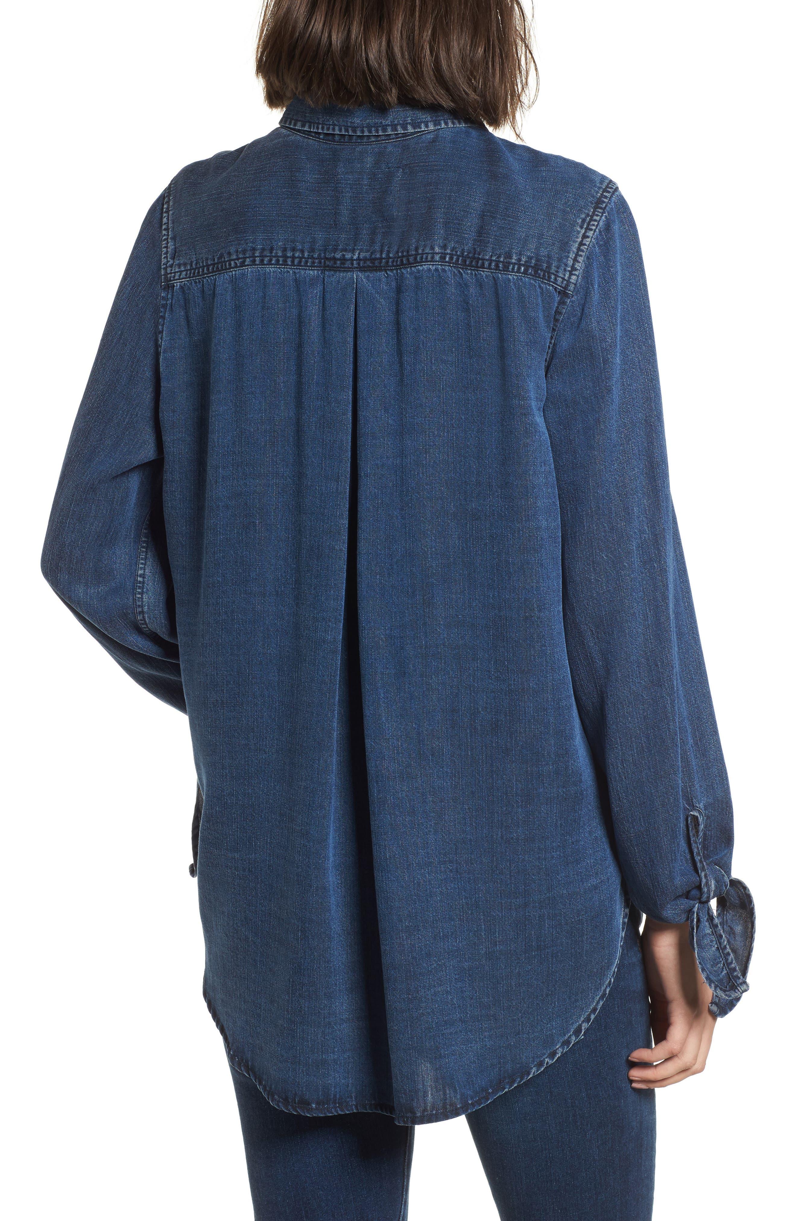 Bethany Tie Cuff Denim Shirt,                             Alternate thumbnail 2, color,                             Dark Vintage Wash