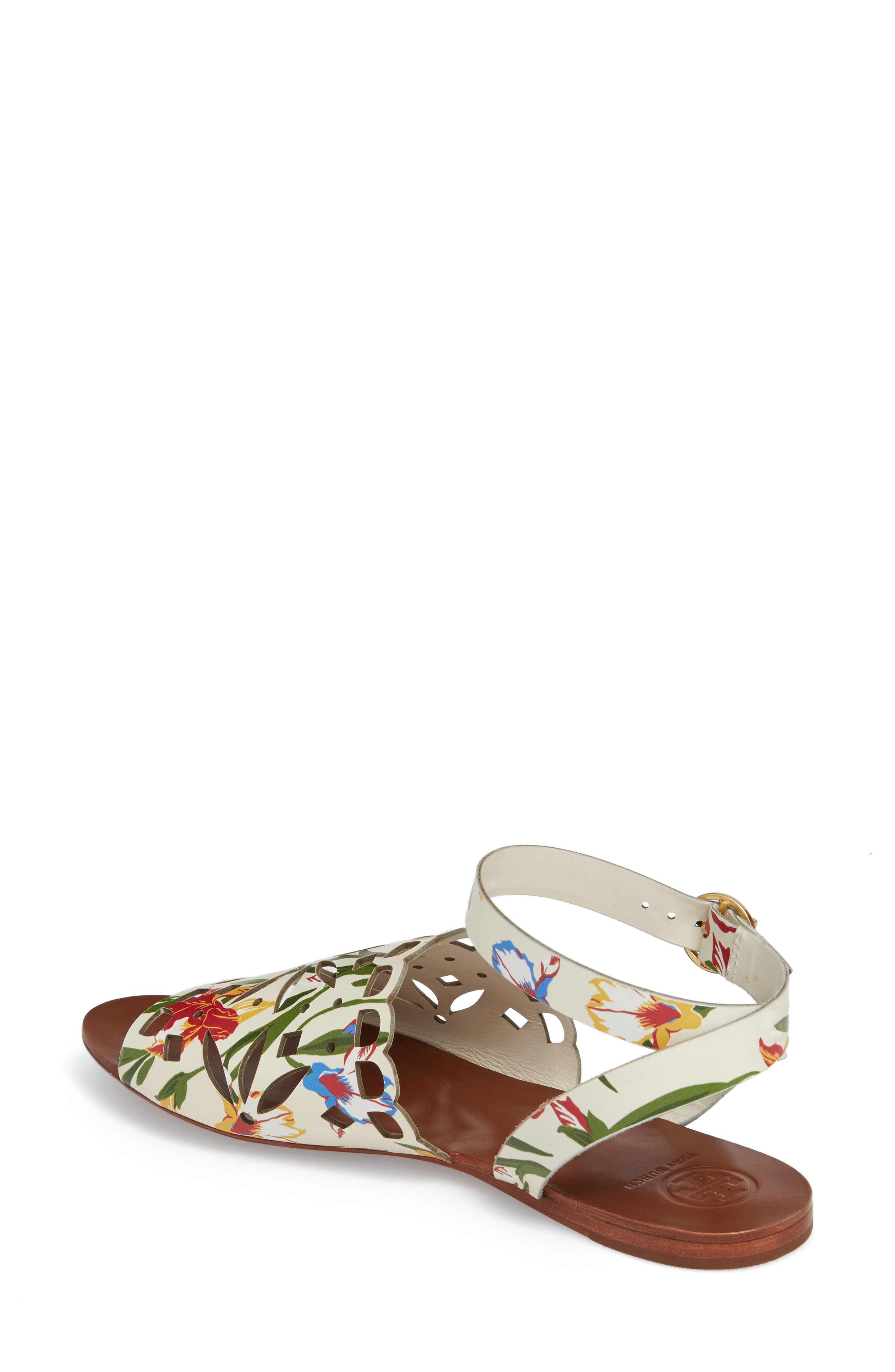 May Printed Floral Ankle Strap Sandal,                             Alternate thumbnail 2, color,                             Painted Iris