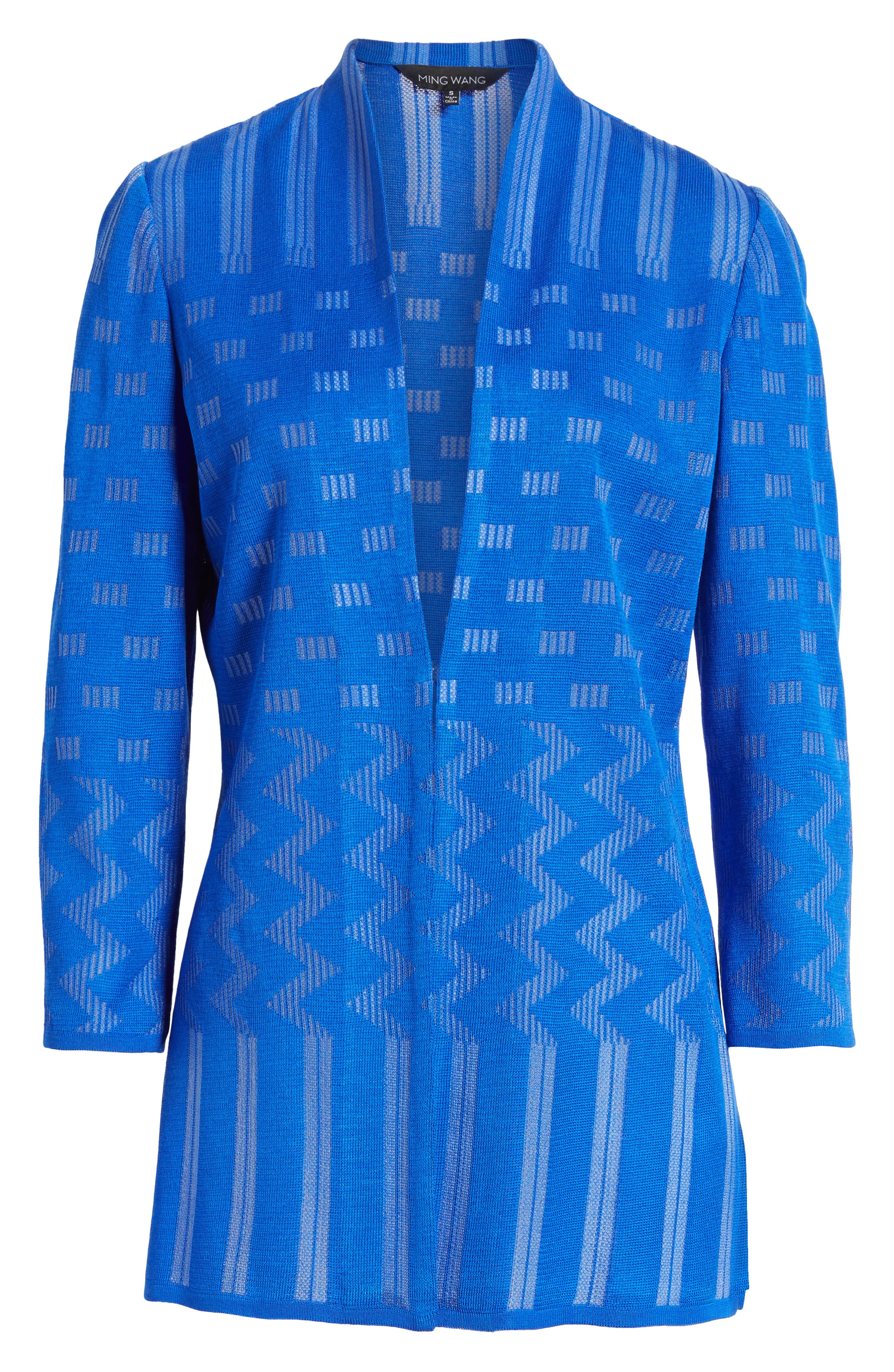 Multi Pattern Long Jacket,                             Alternate thumbnail 6, color,                             Patriot Blue