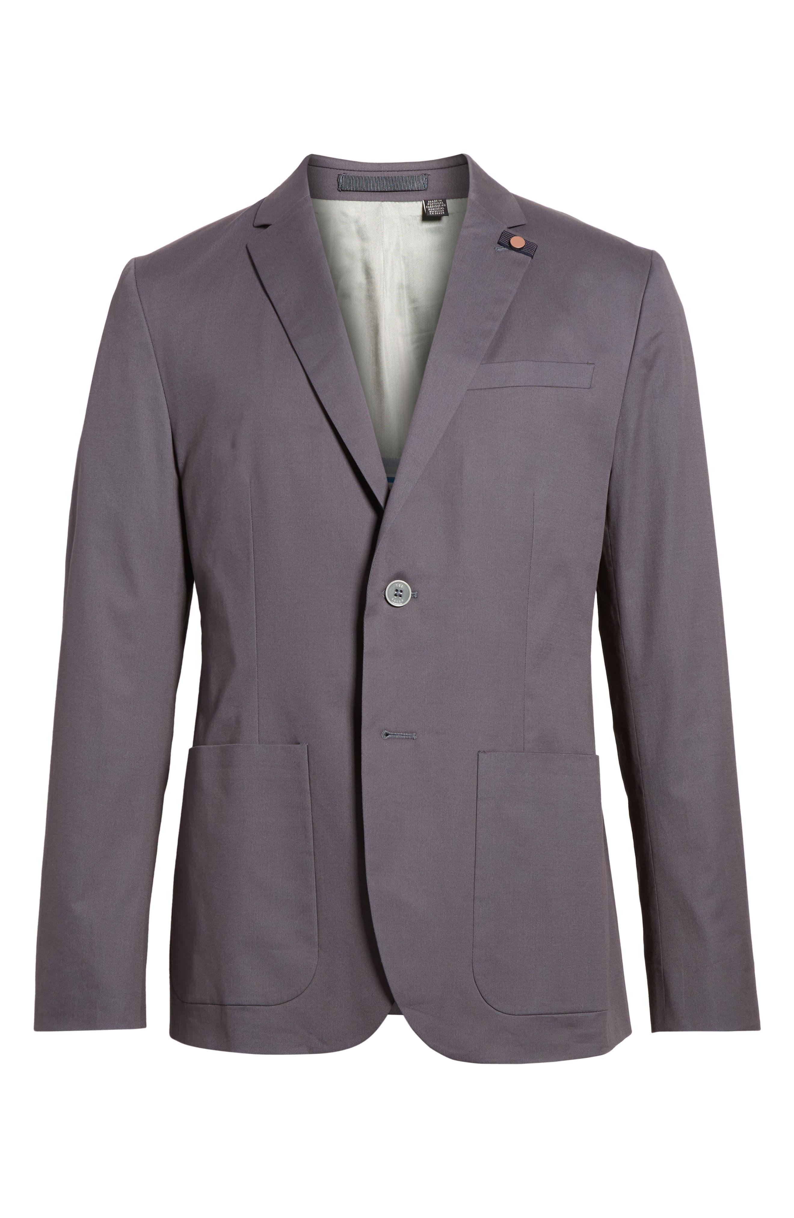 Cliford Trim Fit Stretch Cotton Blazer,                             Alternate thumbnail 6, color,                             Light Grey