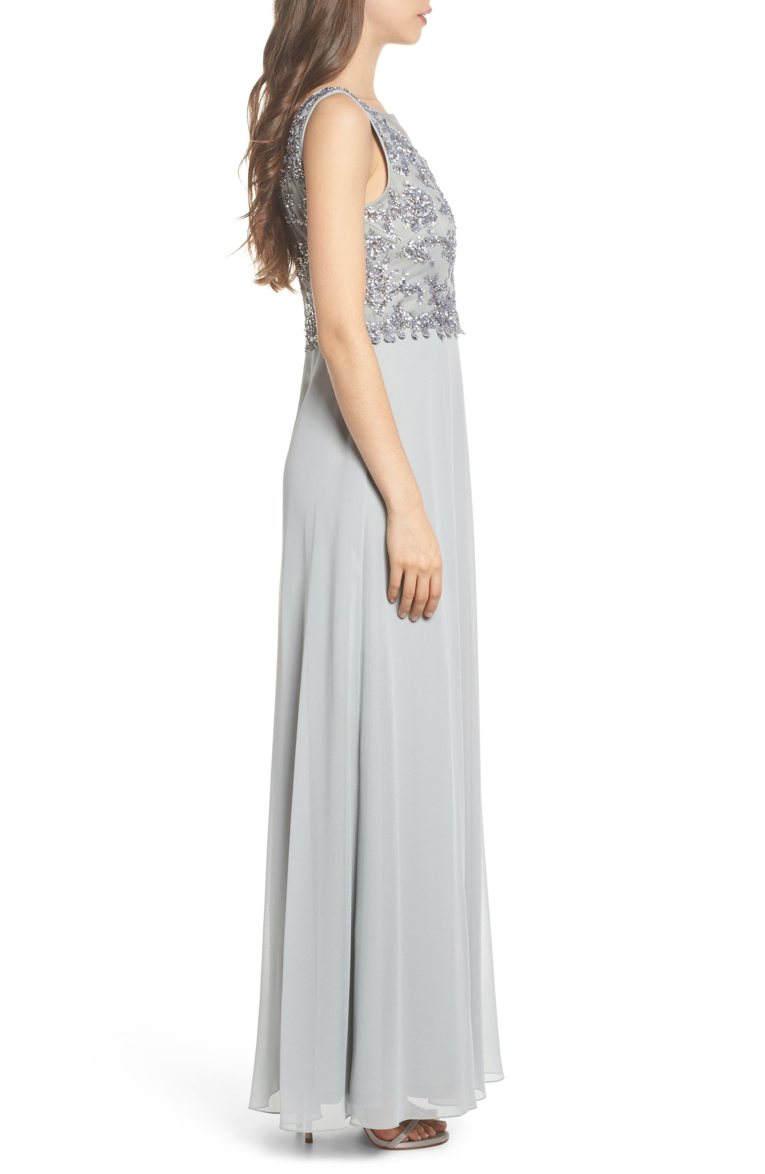 Embellished Mesh Bodice Gown,                             Alternate thumbnail 3, color,                             Blue Mist