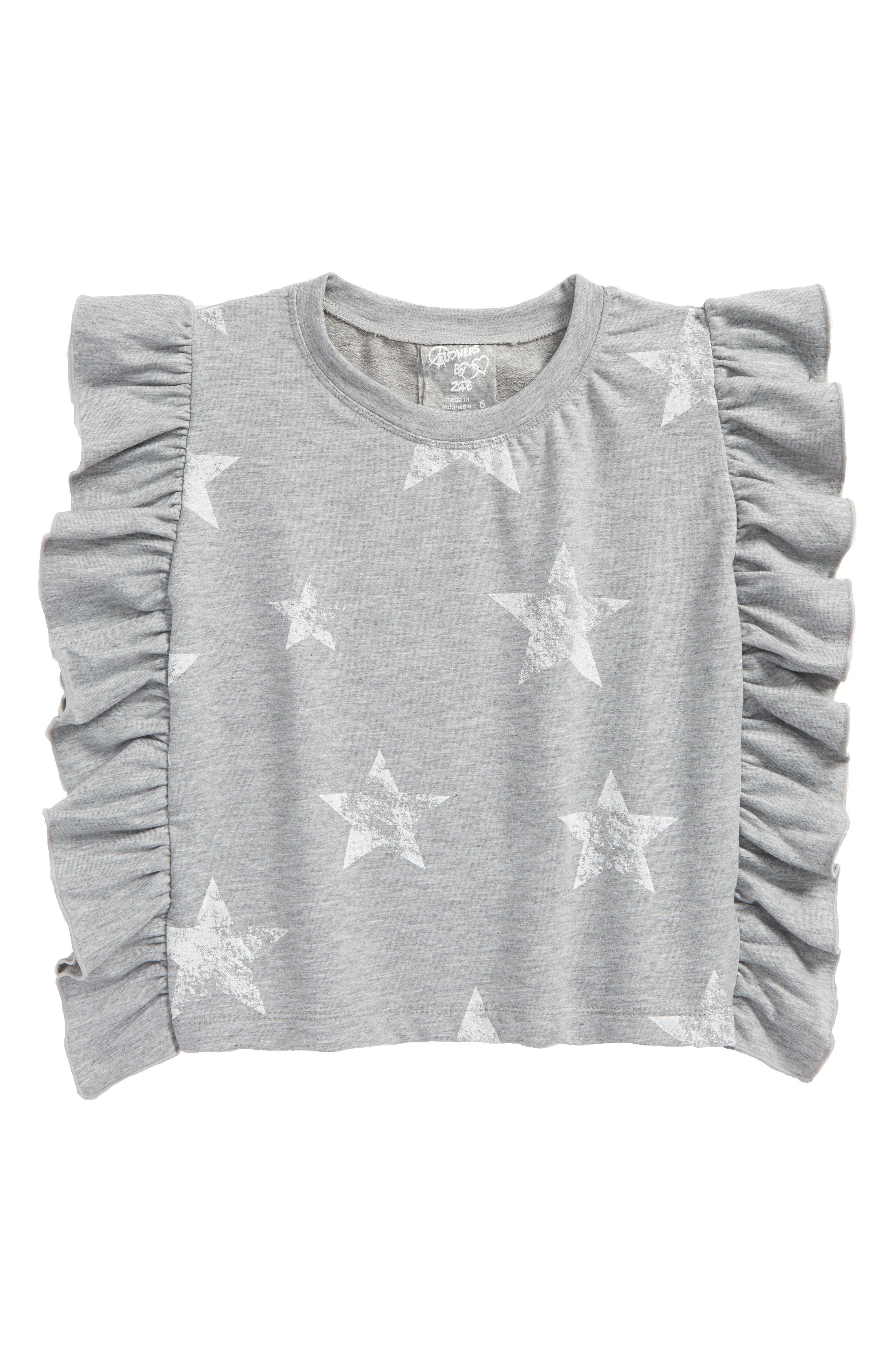 Alternate Image 1 Selected - Flowers by Zoe Star Print Ruffle Side Sweatshirt (Big Girls)