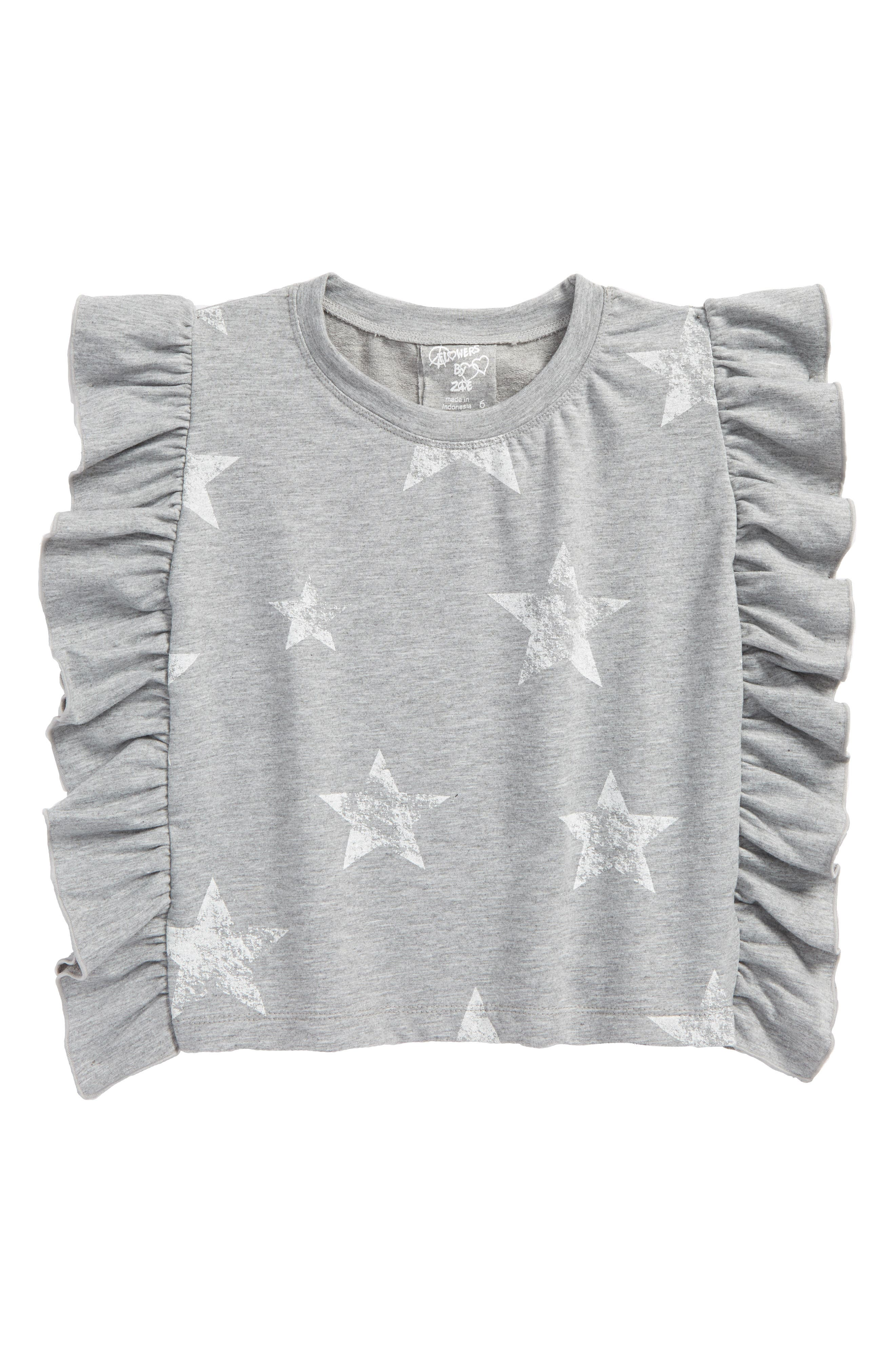 Main Image - Flowers by Zoe Star Print Ruffle Side Sweatshirt (Big Girls)