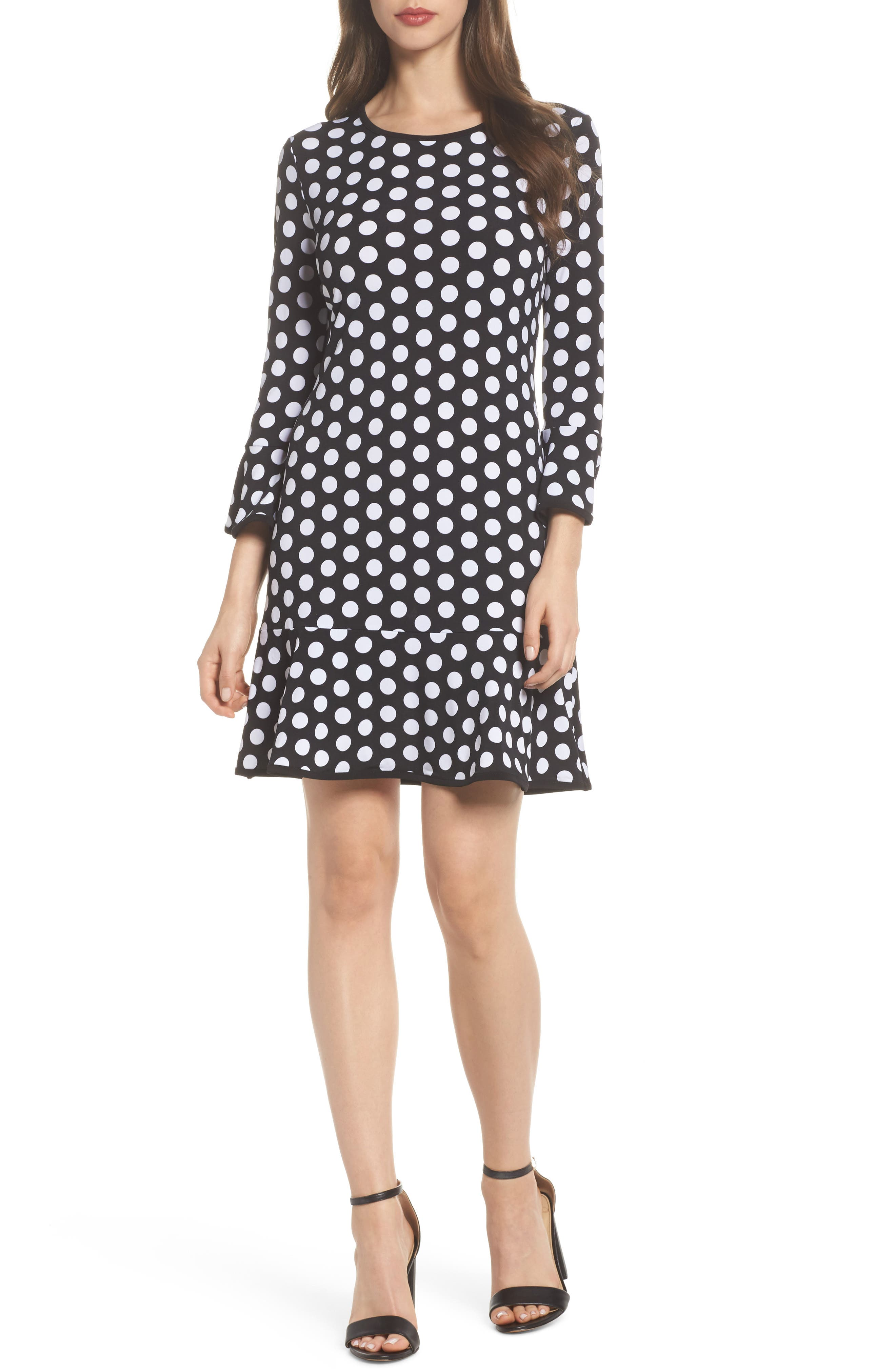 Simple Dot Swing Dress,                             Main thumbnail 1, color,                             Black/ White