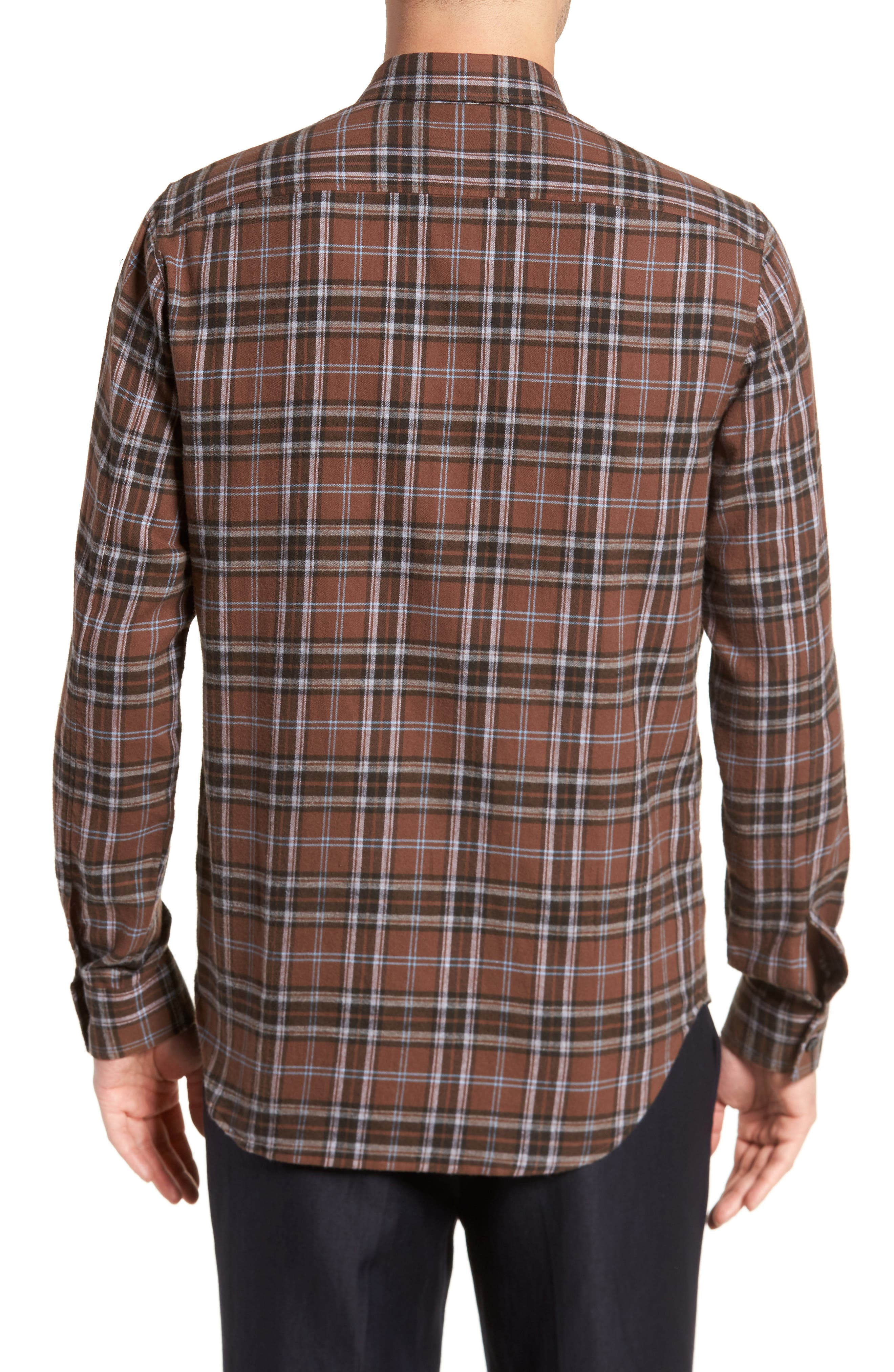 Regular Fit Plaid Sport Shirt,                             Alternate thumbnail 2, color,                             Dark Henna