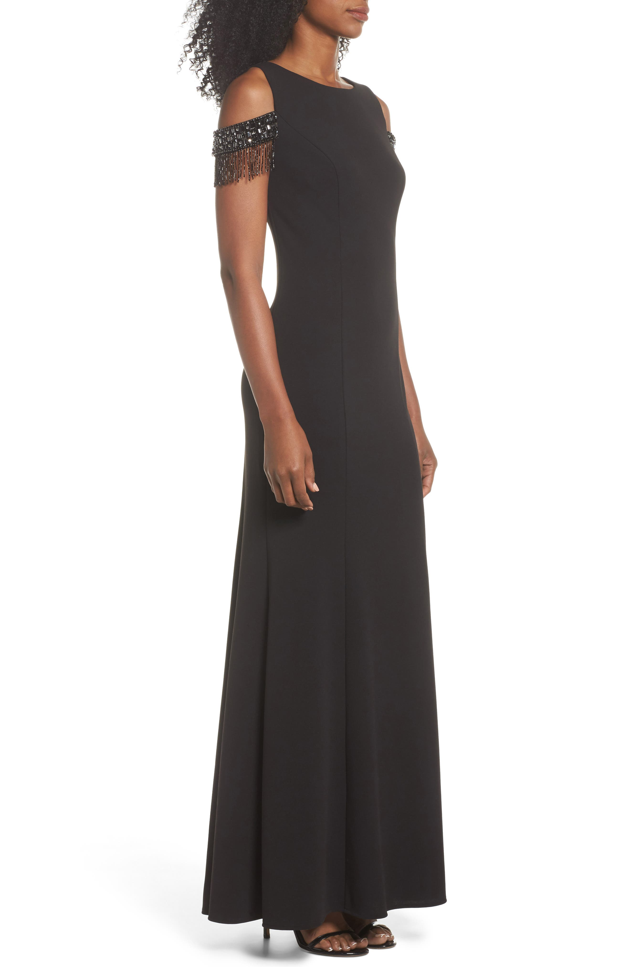 Beaded Sleeve Cold Shoulder Gown,                             Alternate thumbnail 3, color,                             Black