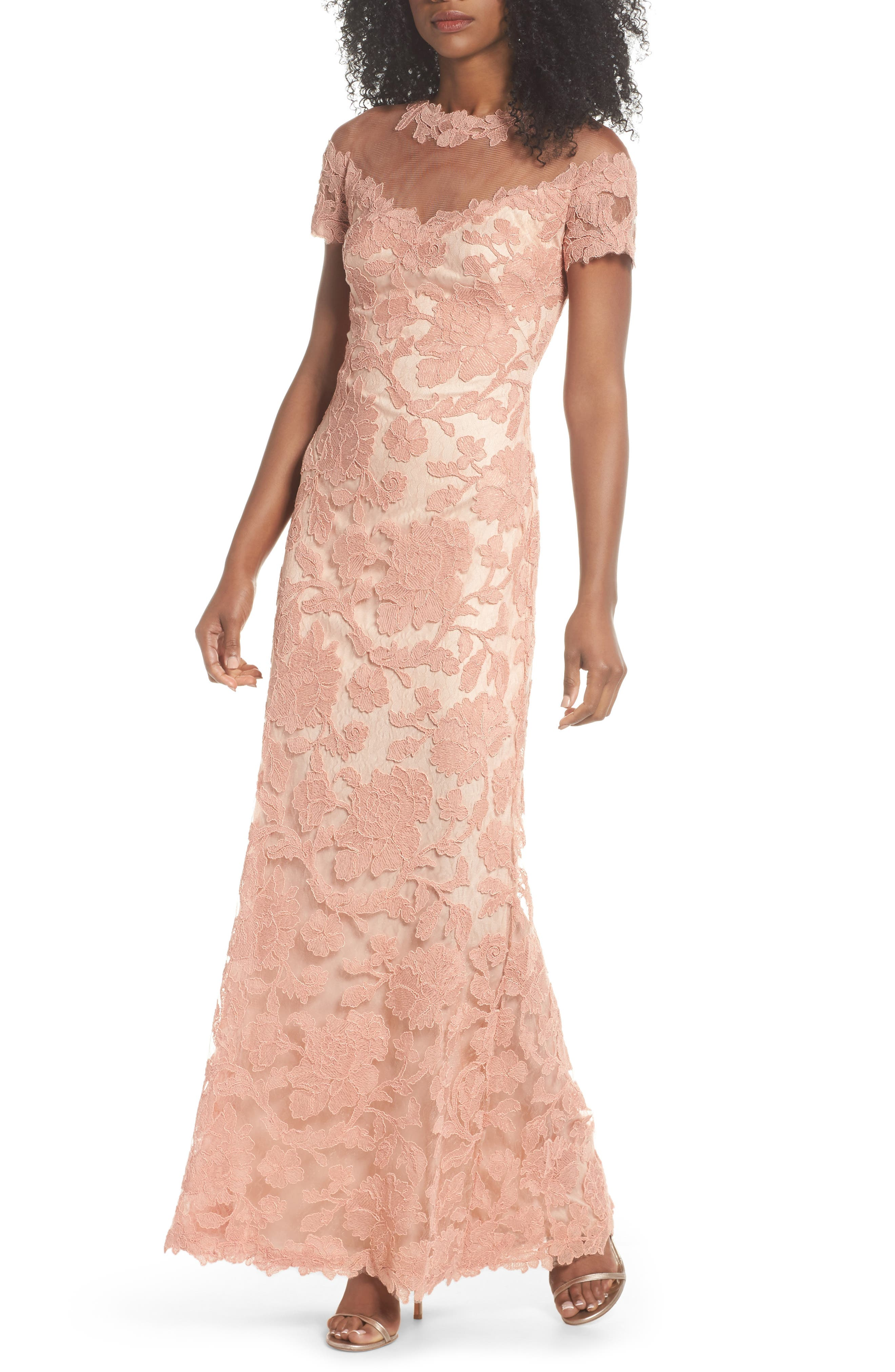 Illusion Yoke Embroidered Gown,                             Main thumbnail 1, color,                             Coral