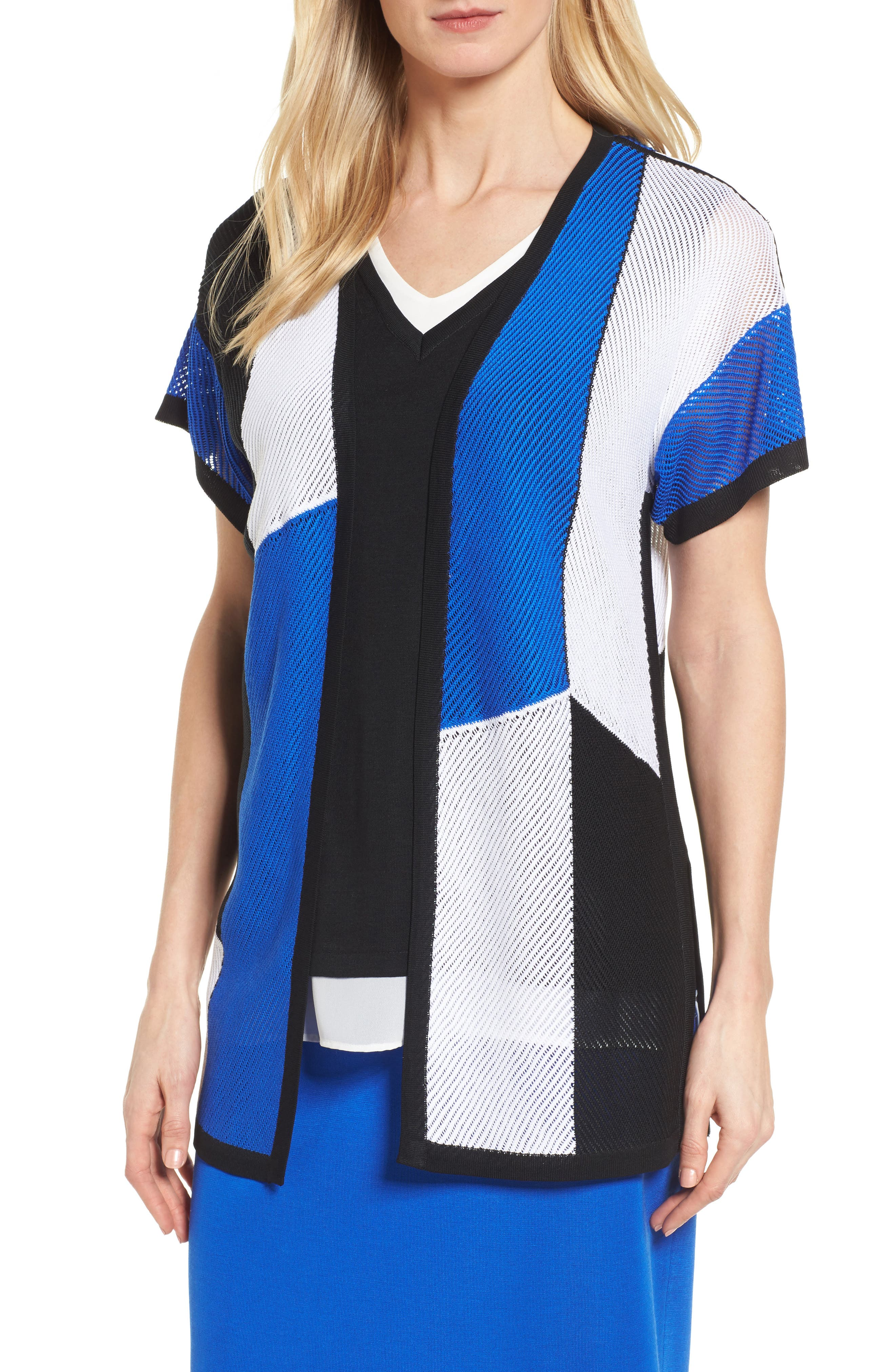 Colorblock Short Sleeve Cardigan,                         Main,                         color, White/ Black/ Patriot Blue