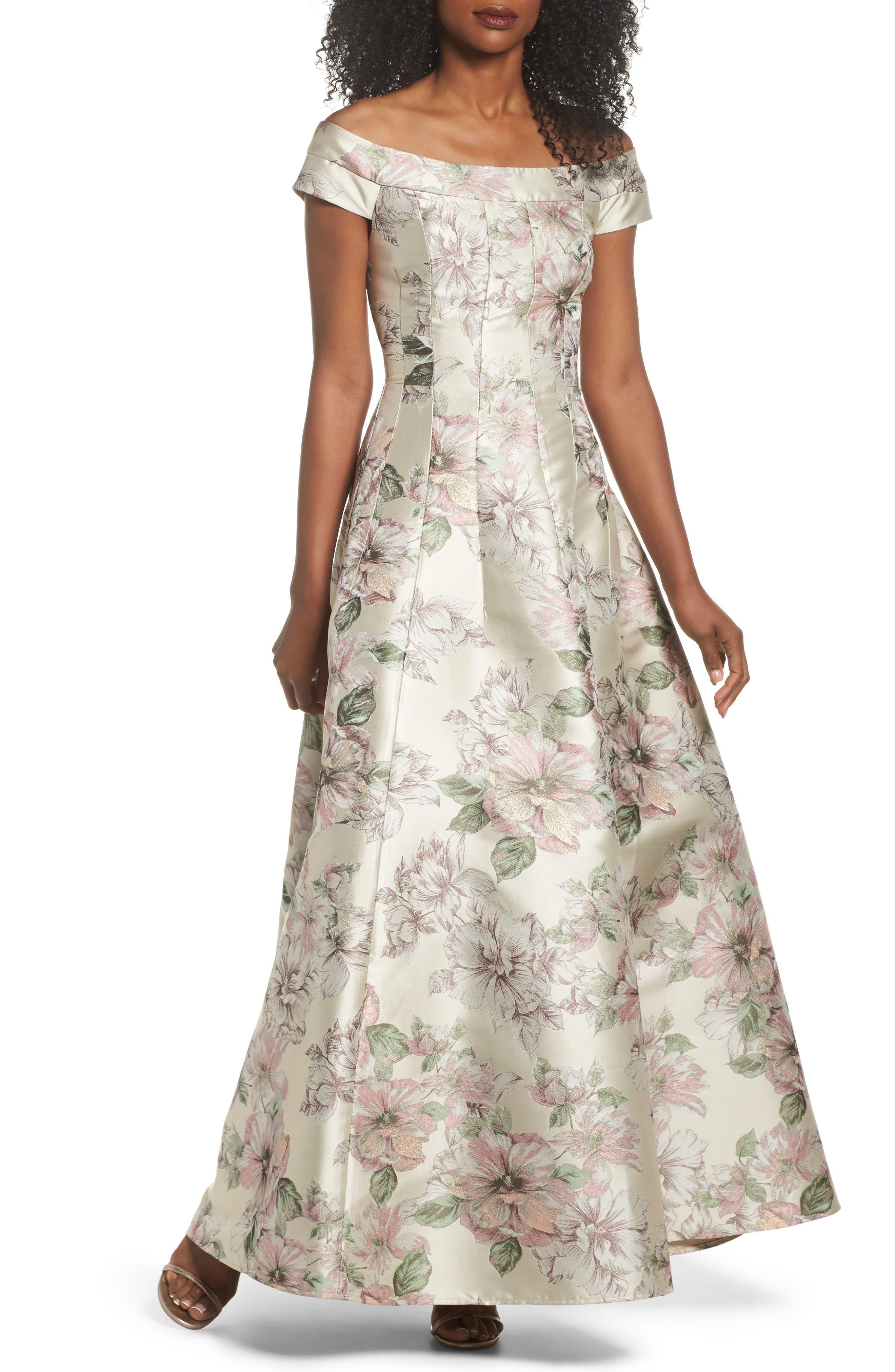 Floral Jacquard Off the Shoulder Ballgown,                             Main thumbnail 1, color,                             Blush